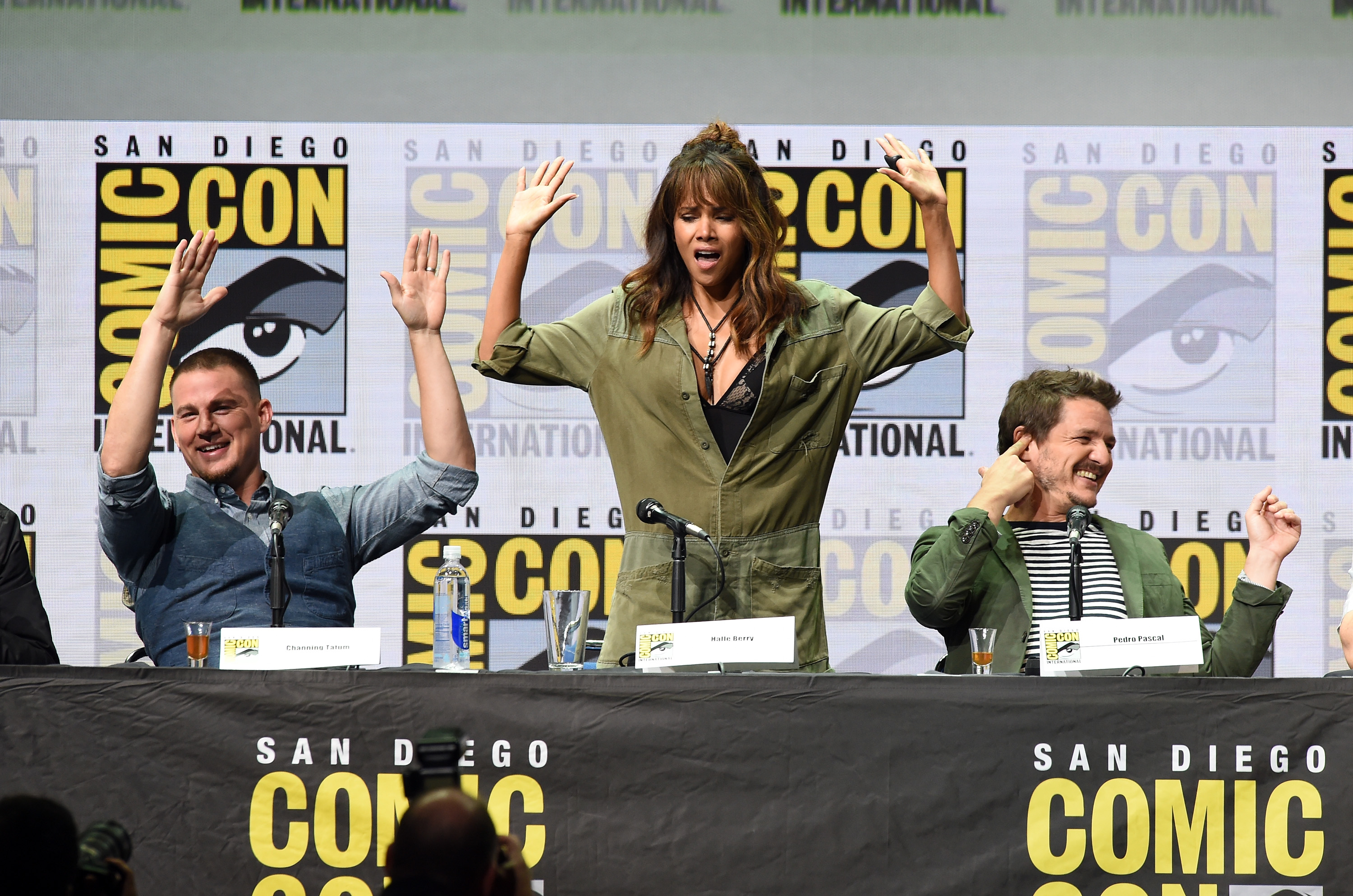 SAN DIEGO, CA - JULY 20:  (L-R) Actors Channing Tatum, Halle Berry and Pedro Pascal speak onstage at the 20th Century FOX panel during Comic-Con International 2017 at San Diego Convention Center on July 20, 2017 in San Diego, California.  (Photo by Kevin Winter/Getty Images)