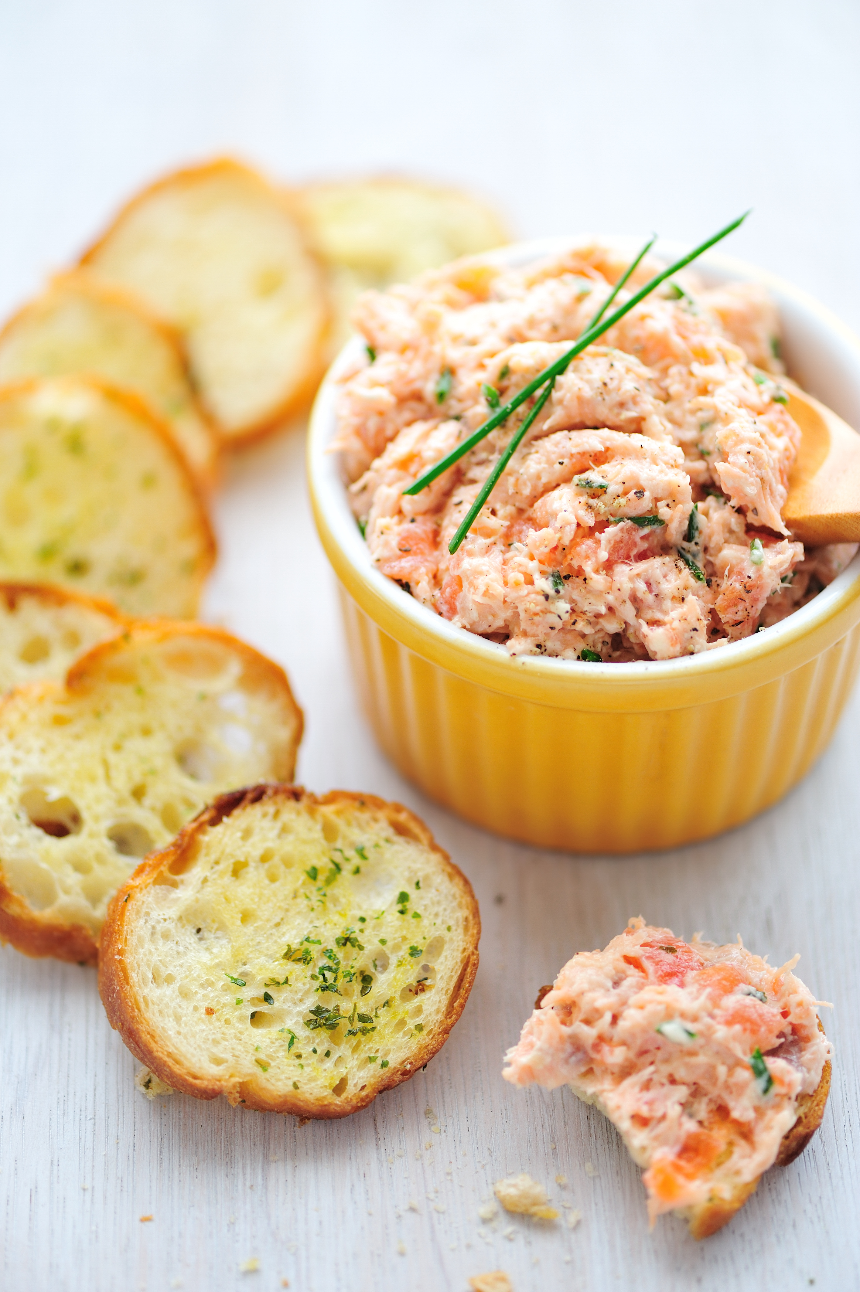 Salmon Rillette Served with Garlic Toasts