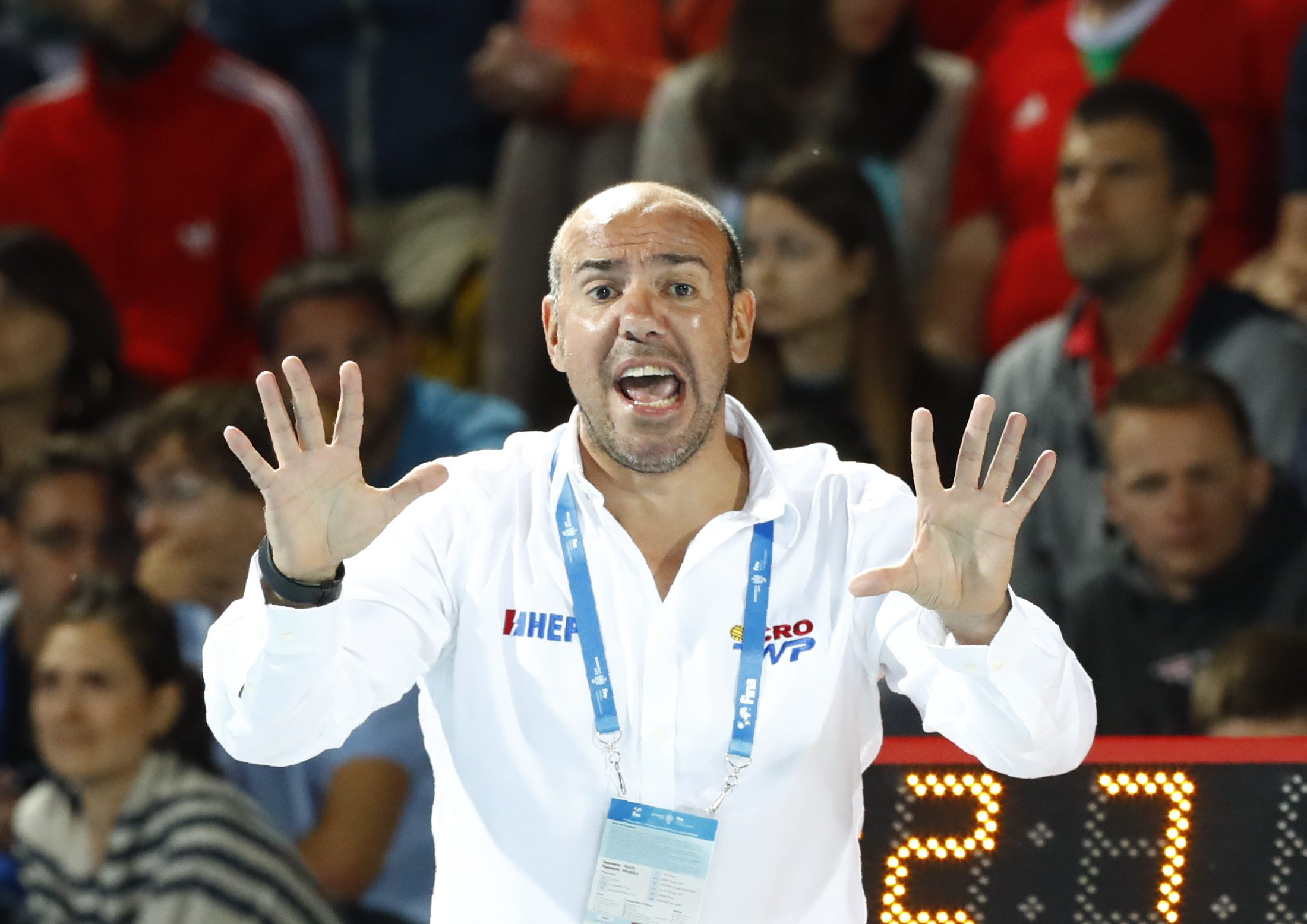 Water Polo Äi Serbia v Croatia Äi 17th FINA World Aquatics Championships Äi Men's Water Polo Semifinal Äi Budapest, Hungary Äi July 27, 2017 Äi Ivica Tucak, head coach of Croatia reacts. REUTERS/Mate Balogh
