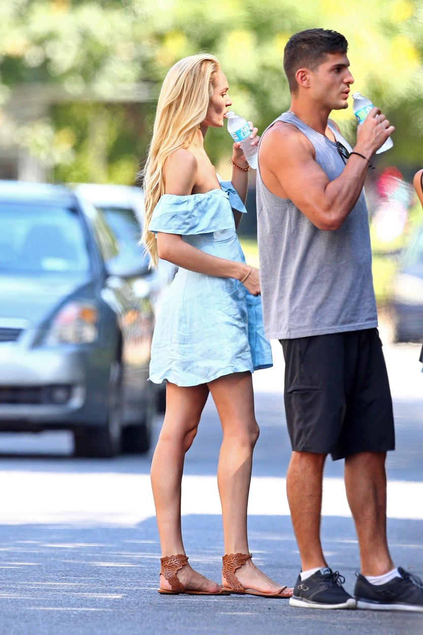 New York, NY  - *EXCLUSIVE*  - Candice Swanepoel and fiance Hermann Nicoli enjoy a day in the park with their son Anaca in New York. Anaca could be seen laughing and smiling as he enjoyed the nice weather in just his diaper.  Pictured: Candice Swanepoel  BACKGRID USA 3 JULY 2017   USA: +1 310 798 9111 / usasales@backgrid.com  UK: +44 208 344 2007 / uksales@backgrid.com  *UK Clients - Pictures Containing Children Please Pixelate Face Prior To Publication*, Image: 340528619, License: Rights-managed, Restrictions: , Model Release: no, Credit line: Profimedia, AKM-GSI
