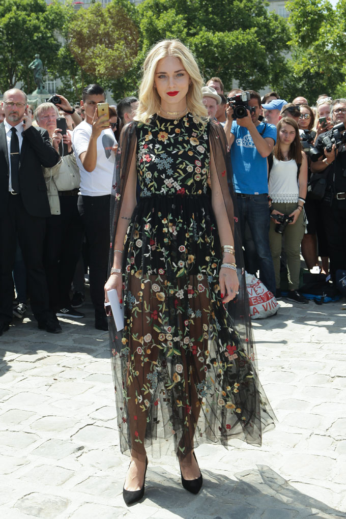 Chiara Ferragni attends the 'Christian Dior' show during Paris Fashion Week - Haute Couture Fall/Winter 2017-2018 on July 3, 2017 in Paris, France., Image: 340448124, License: Rights-managed, Restrictions: WORLD RIGHTS- Fee Payable Upon Reproduction - For queries contact Avalon.red - sales@avalon.red  London: +44 (0) 20 7421 6000  Los Angeles: +1 (310) 822 0419  Berlin: +49 (0) 30 76 212 251, Model Release: no, Credit line: Profimedia, Uppa entertainment