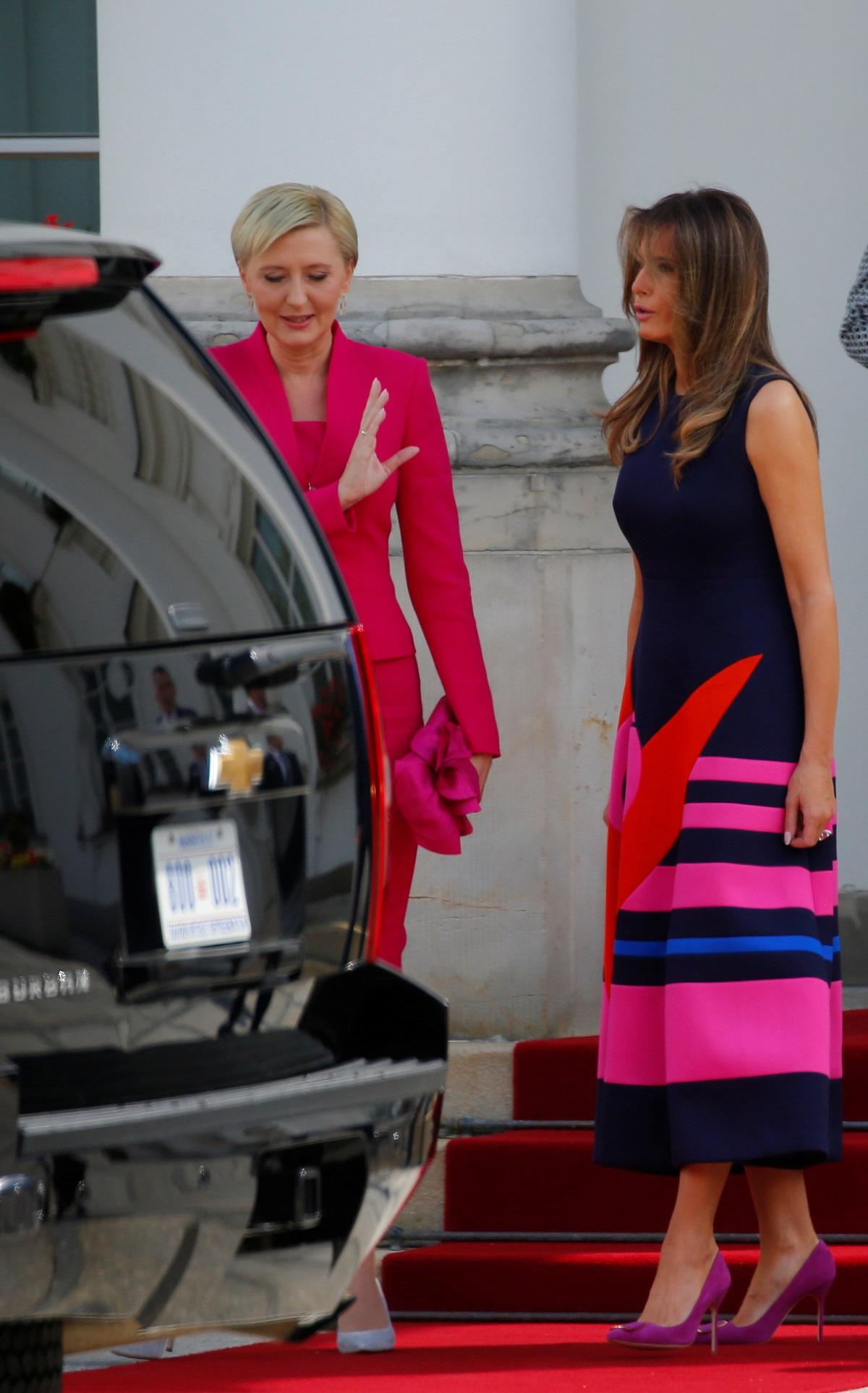 Melania Trump i prva dama Poljske Agata Kornhauser-Duda družile su se u Palači Belvedere dok su im supruzi imali press konferenciju