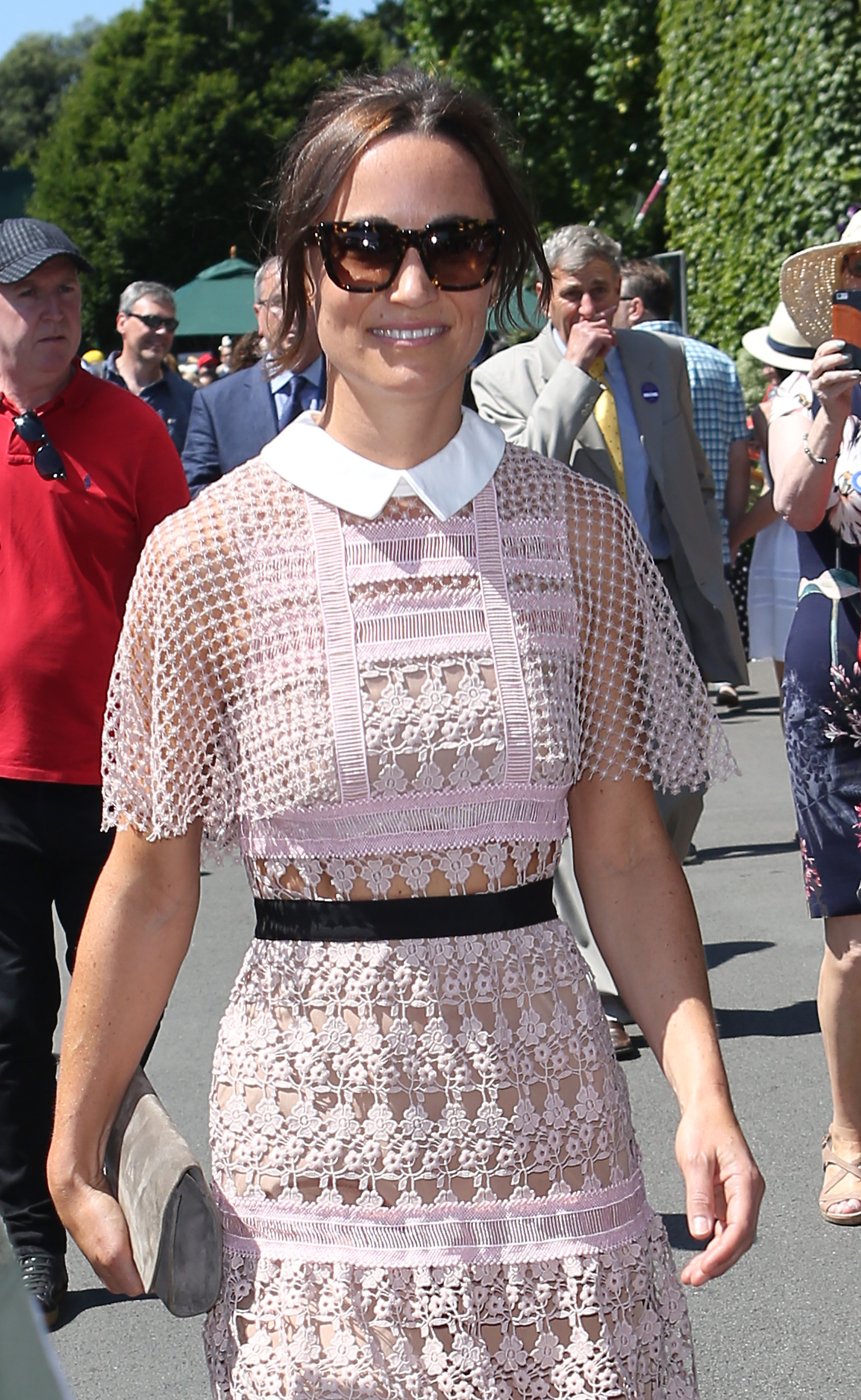 Pippa Middleton arrives on day three of the Wimbledon Championships at the All England Lawn Tennis and Croquet Club, Wimbledon., Image: 340910944, License: Rights-managed, Restrictions: Editorial use only. No commercial use without prior written consent of the AELTC. Still image use only - no moving images to emulate broadcast. No superimposing or removal of sponsor/ad logos., Model Release: no, Credit line: Profimedia, Press Association