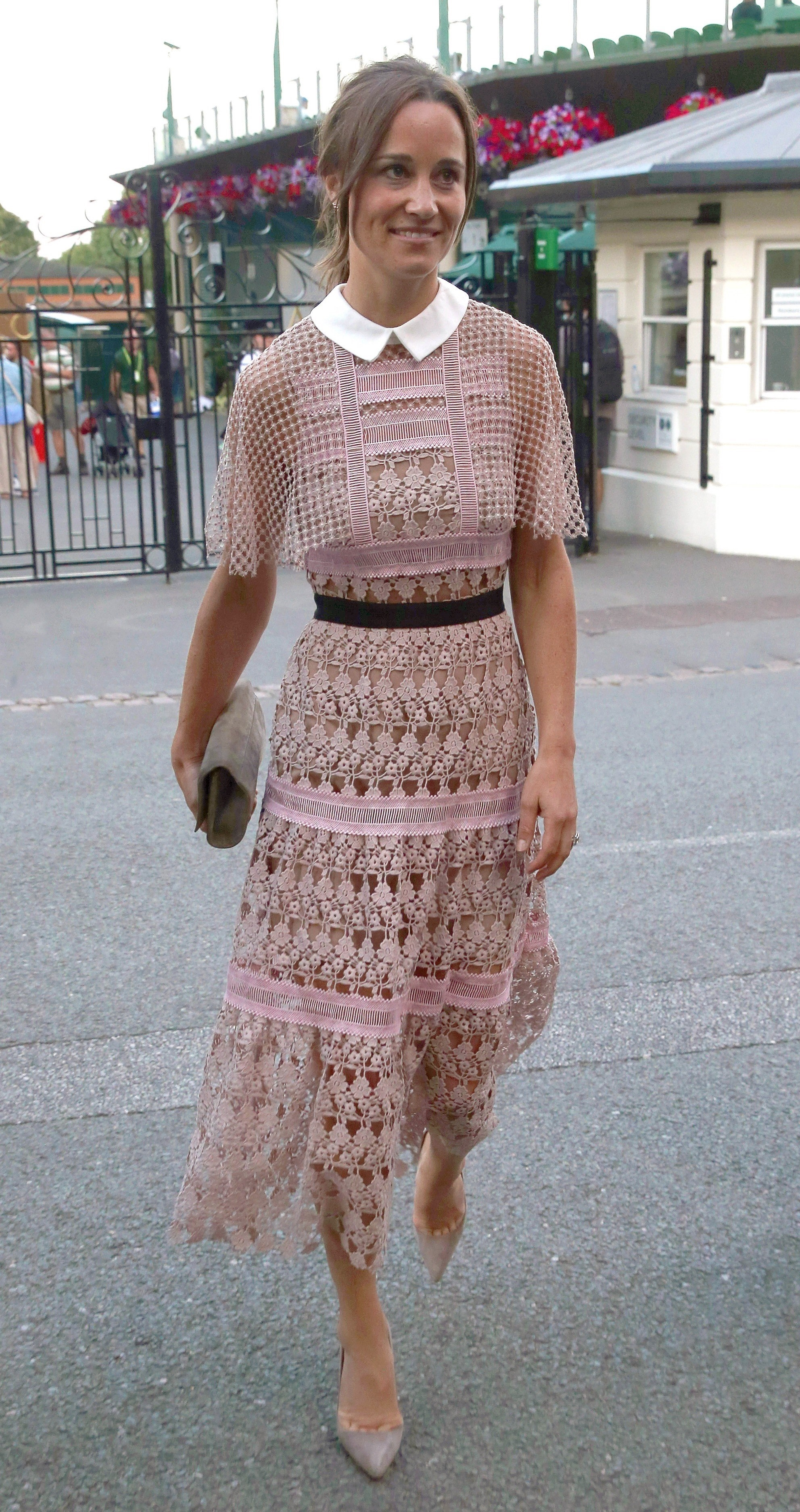 London, UNITED KINGDOM  - Pippa Middleton & James Middleton are both seen here leaving AELTC Wimbledon Tennis Club In London after attending The 2017 Wimbledon Championship on Day 3. Pippa looked stunning in a pale pink lace patterned dress whilst holding a clutch handbag James looked smart in a blue suit with a red tie. James was seen driving his sister Pippa home in a open top classic green land rover as they left The AELTC Wimbledon Championships 2017 on Day 3.  BACKGRID UK 5 JULY 2017, Image: 340986907, License: Rights-managed, Restrictions: , Model Release: no, Credit line: Profimedia, Xposurephotos