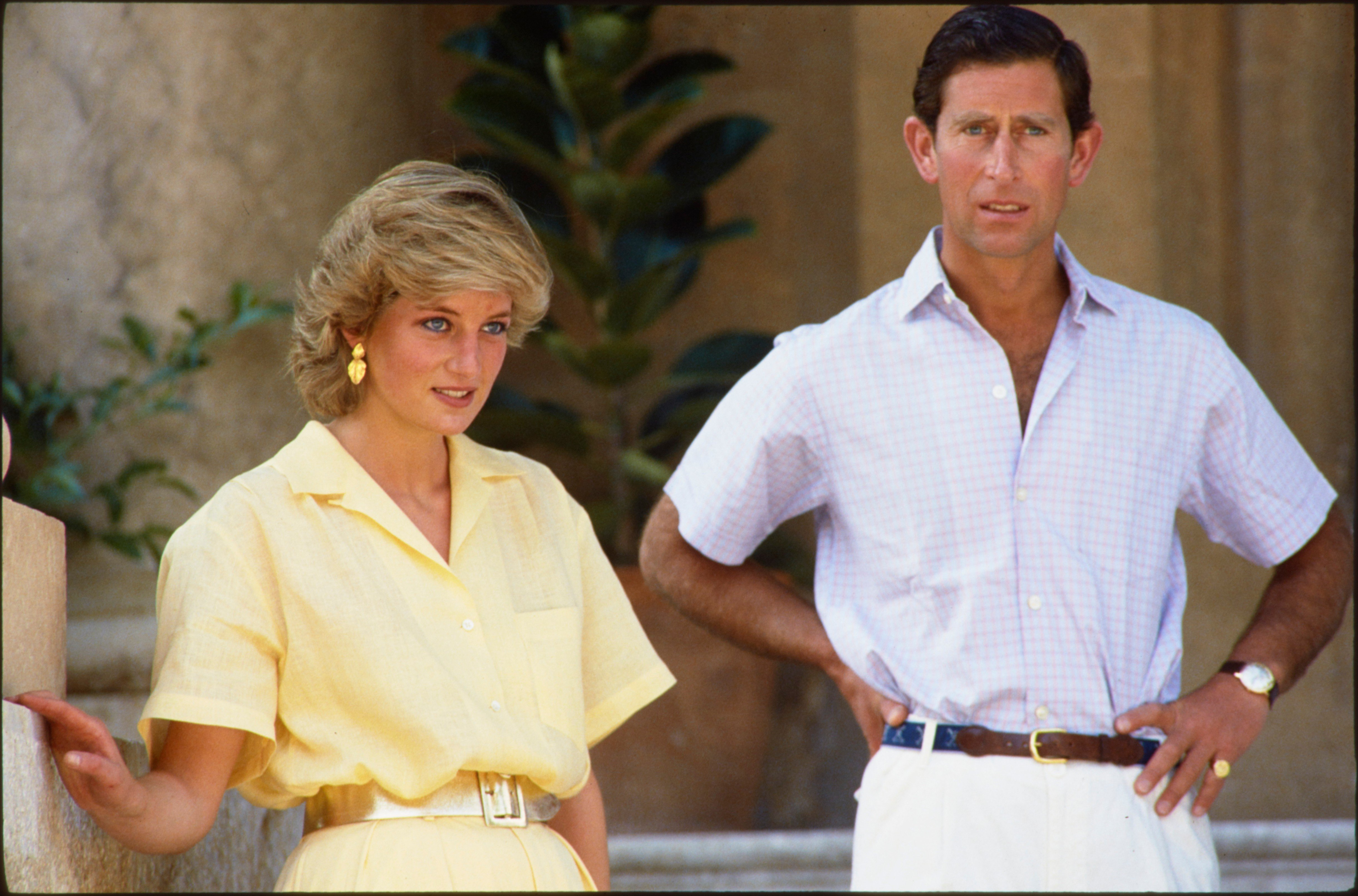 Charles, Prince of Wales (Charles Philip Arthur George), born 1948, eldest child and heir apparent of Queen Elizabeth II. Known alternatively in South West England as Duke of Cornwall and in Scotland as Duke of Rothesay.  The Prince of Wales and his wife Princess Diana on holiday in Palma de Mallorca, Spain.  Photo, 8th August 1987., Image: 302475826, License: Rights-managed, Restrictions: , Model Release: no, Credit line: Profimedia, AKG