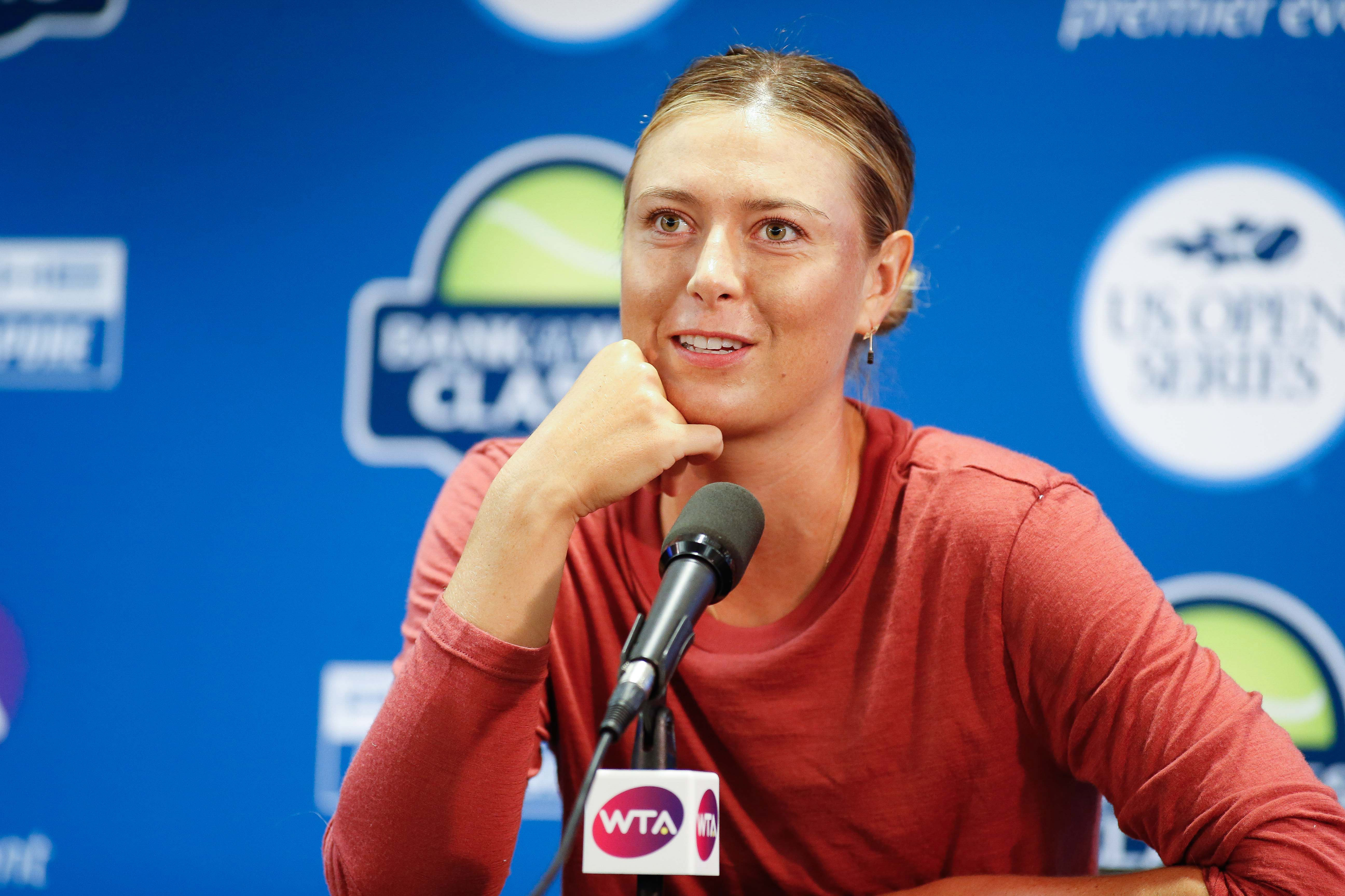 Jul 31, 2017; Palo Alto, CA, USA; Maria Sharapova (RUS) conducts a post game interview after defeating Jennifer Brady (USA) in the Bank of the West Classic tennis tournament at Stanford University. Mandatory Credit: Stan Szeto-USA TODAY Sports