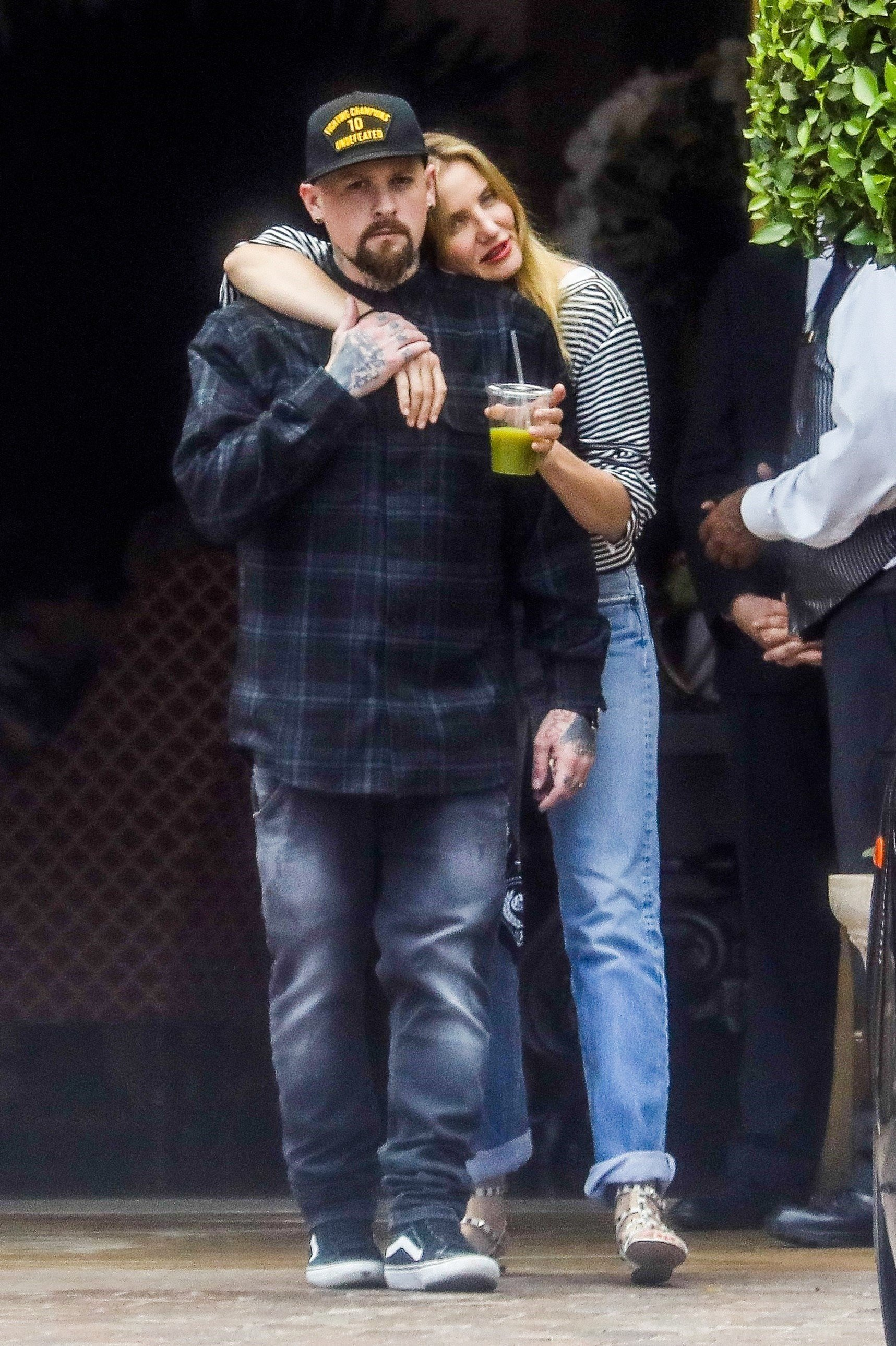 *EXCLUSIVE* Beverly Hills, CA  - Cameron Diaz and Benji Madden show some PDA after lunch at Bouchon. The two are in a good mood as they head to All Saints for some after lunch retail therapy.  Pictured: Cameron Diaz, Benji Madden  BACKGRID USA 5 JUNE 2017   USA: +1 310 798 9111 / usasales@backgrid.com  UK: +44 208 344 2007 / uksales@backgrid.com  *UK Clients - Pictures Containing Children Please Pixelate Face Prior To Publication*, Image: 335203434, License: Rights-managed, Restrictions: , Model Release: no, Credit line: Profimedia, AKM-GSI