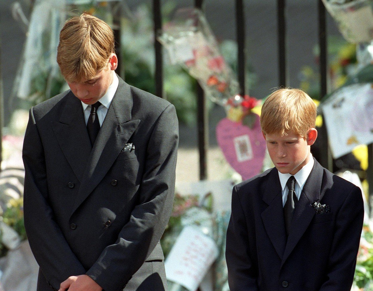 "Embargoed to 0001 Wednesday August 23 File photo dated 06/09/1997 of Prince William (left) and Prince Harry, the sons of Diana, Princess of Wales, bow their heads as their mother's coffin is taken out of Westminster Abbey following her funeral service. The Duke of Cambridge has confessed to using his fringe as a ""safety blanket"" when walking behind his mother's funeral cortege., Image: 346153637, License: Rights-managed, Restrictions: FILE PHOTO, Model Release: no, Credit line: Profimedia, Press Association"