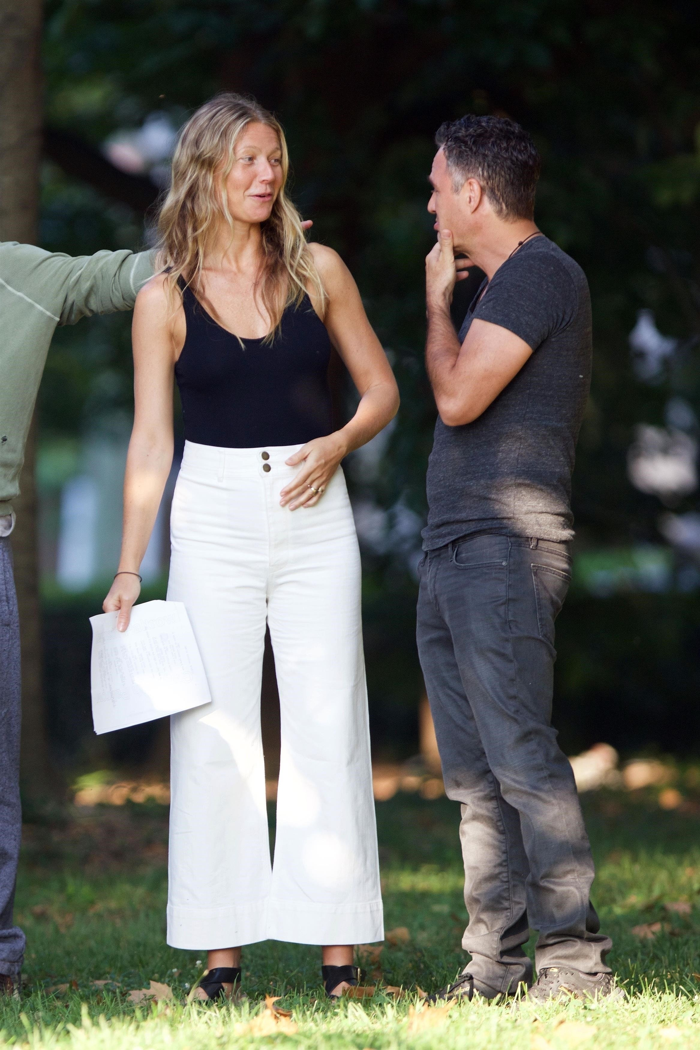 *EXCLUSIVE* Fayetteville, GA  - *WEB MUST CALL FOR PRICING* Actors Robert Downey Jr., Gwyneth Paltrow, Mark Ruffalo, Jon Favreau and directors Anthony and Joe Russo are spotted rehearsing scenes in Fayetteville, Georgia for 'Avengers 4'.  Pictured: Gwyneth Paltrow, Mark Ruffalo  BACKGRID USA 22 AUGUST 2017   USA: +1 310 798 9111 / usasales@backgrid.com  UK: +44 208 344 2007 / uksales@backgrid.com  *UK Clients - Pictures Containing Children Please Pixelate Face Prior To Publication*, Image: 346196924, License: Rights-managed, Restrictions: , Model Release: no, Credit line: Profimedia, AKM-GSI