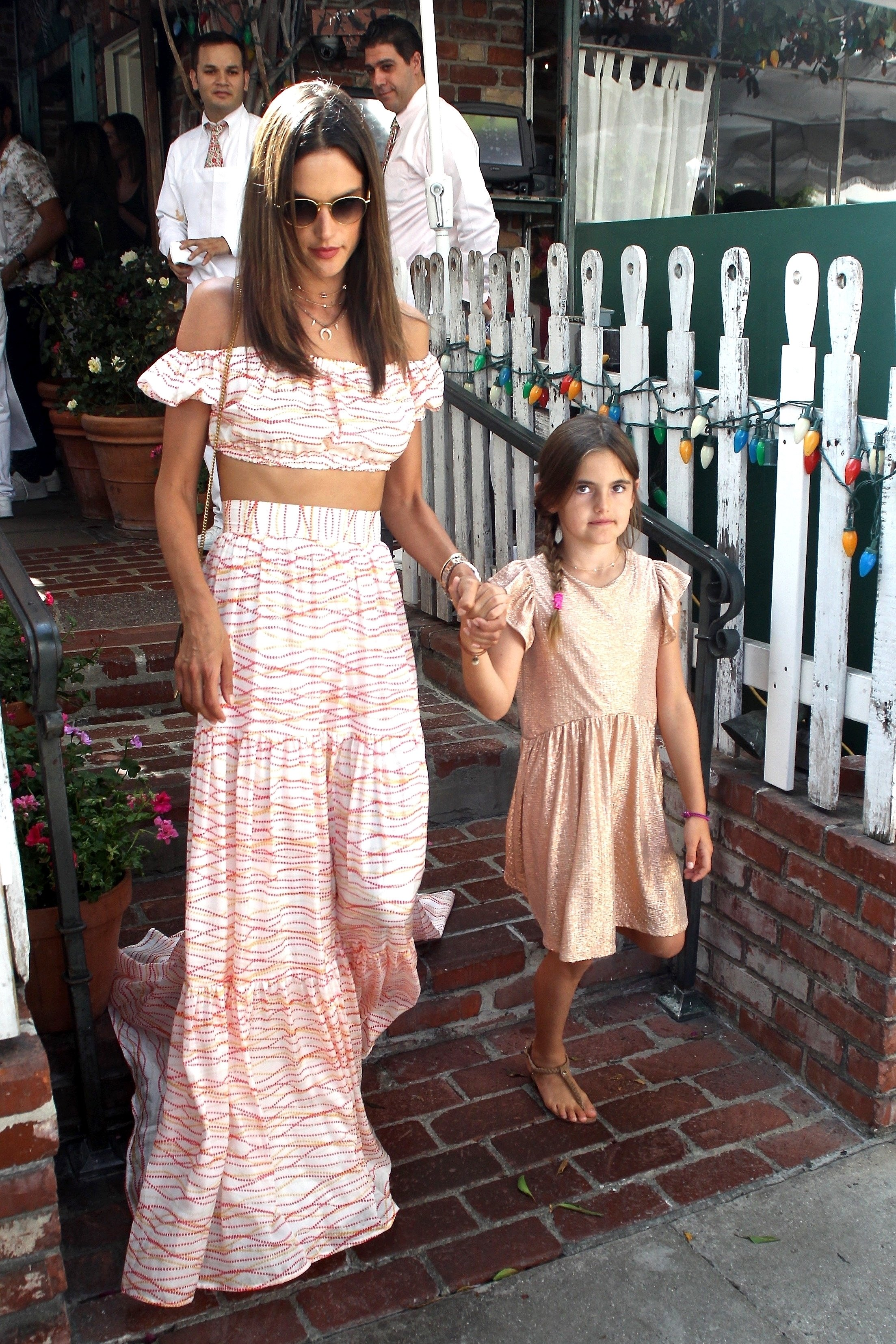 West Hollywood, CA  - Alessandra Ambrosio exits The Ivy after having lunch with her daughter Anja for her 9th birthday.  Anja was all smiles and holding her her mom's hand on the way out to get through the crowds.  Pictured: Alessandra Ambrosio  BACKGRID USA 24 AUGUST 2017, Image: 346405995, License: Rights-managed, Restrictions: , Model Release: no, Credit line: Profimedia, AKM-GSI