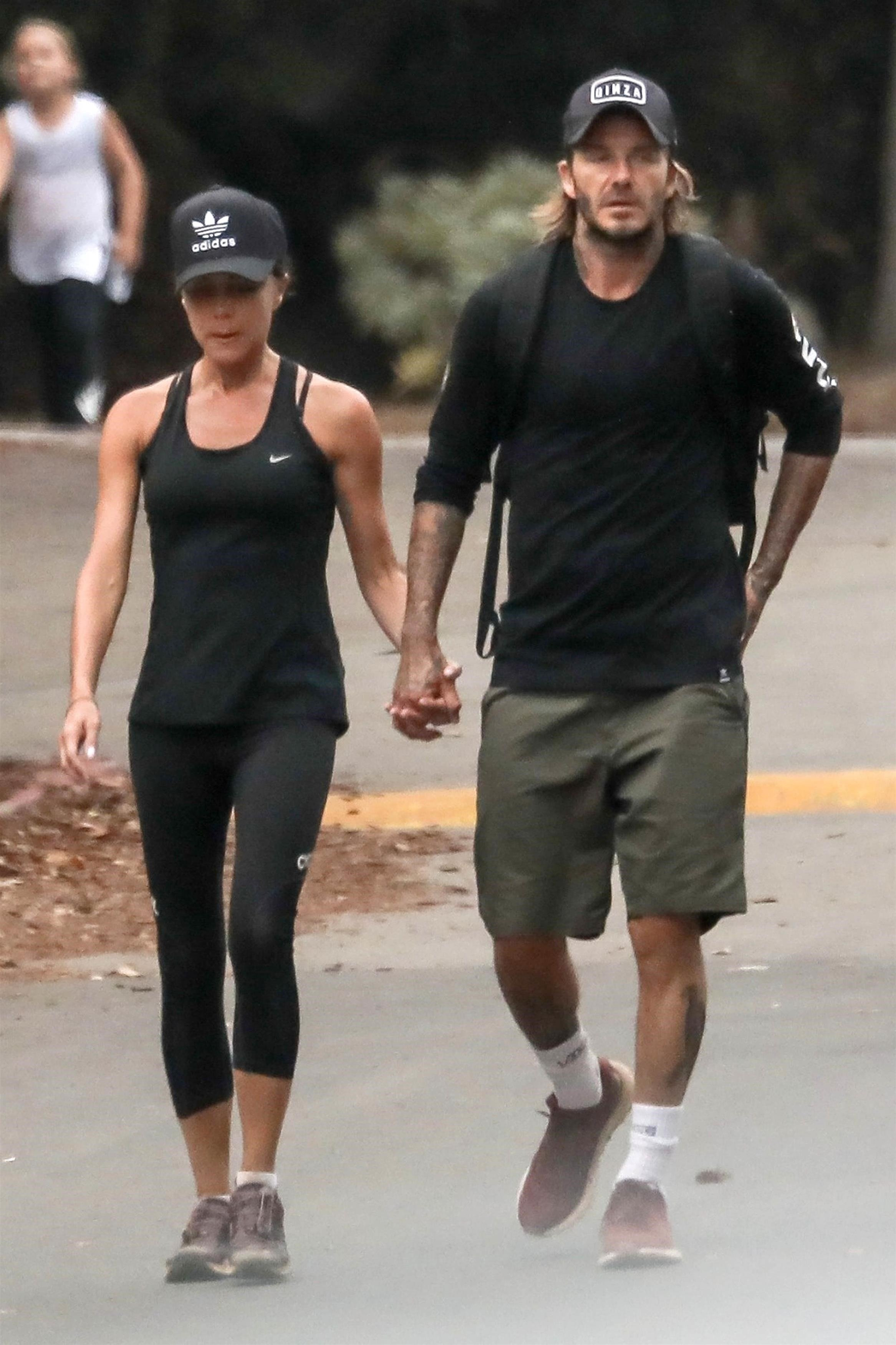 *EXCLUSIVE* Pacific Palisades, CA  - Superstar couple David and Victoria Beckham were seen holding hands after a hike with their kids Pacific Palisades. David recently returned from New York City where he saw his oldest son Brooklyn off to school! *WEB MUST CALL FOR PRICING*  Pictured: David Beckham, Victoria Beckham  BACKGRID USA 23 AUGUST 2017, Image: 346358385, License: Rights-managed, Restrictions: , Model Release: no, Credit line: Profimedia, AKM-GSI
