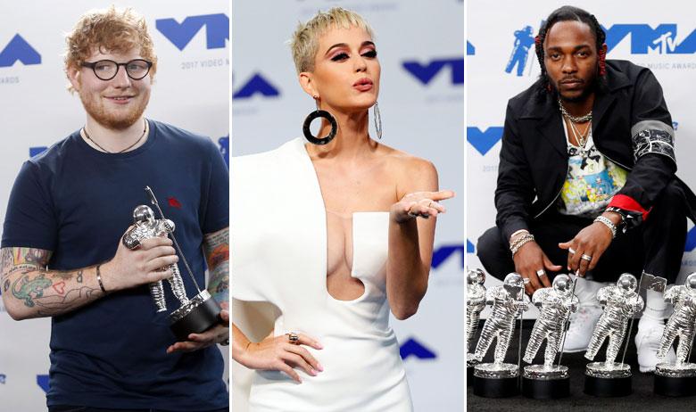 Ed Sheeran, Katy Perry, Kendrick Lamar