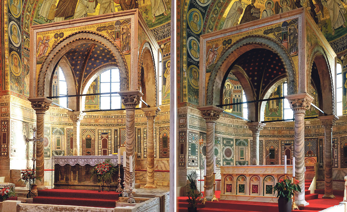 Eufrazijeva bazilika prije (lijevo) i poslije (desno)
