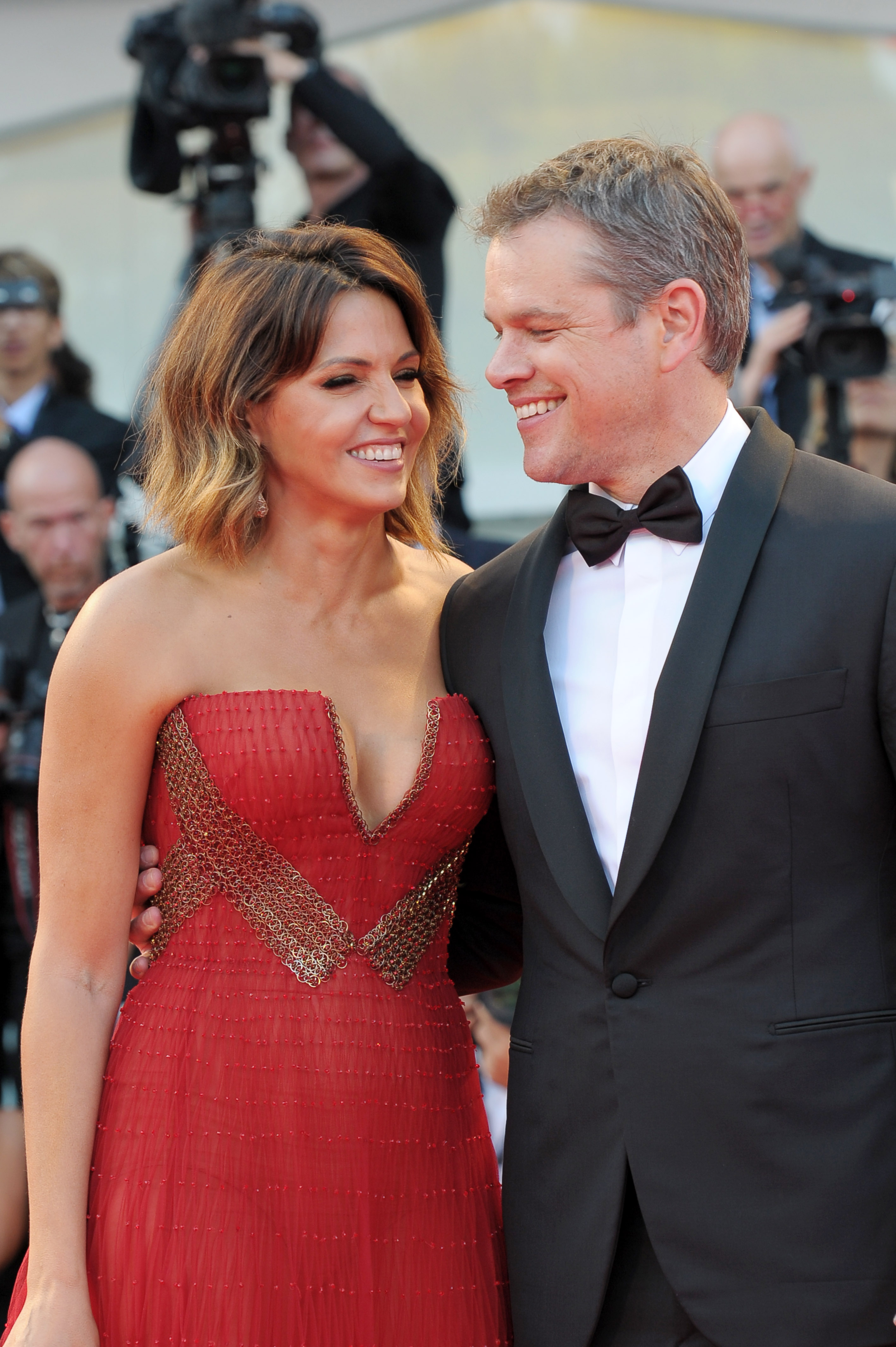 Celebrities on the red carpet for the premiere of 'Downsizing' held during the 74th Venice Film Festival in Venice, Italy. <P> Pictured: Matt Damon, Luciana Barroso <B>Ref: SPL1565300  300817  </B><BR/> Picture by: Splash News<BR/> </P><P> <B>Splash News and Pictures</B><BR/> Los Angeles:	310-821-2666<BR/> New York:	212-619-2666<BR/> London:	870-934-2666<BR/> <span id=
