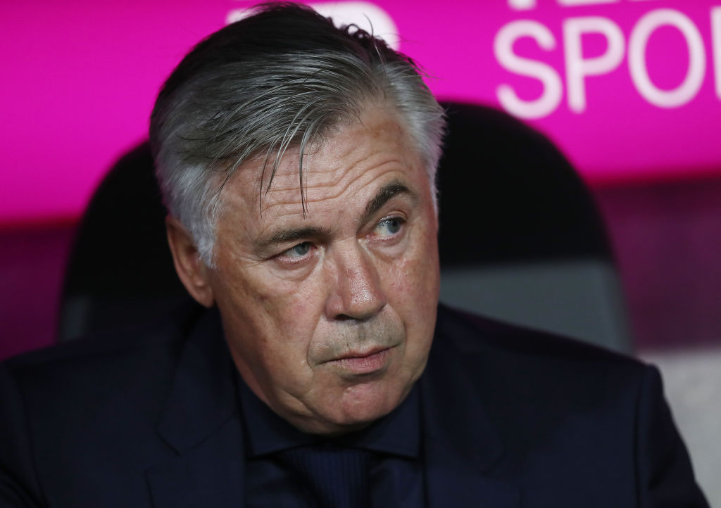 MUNICH, GERMANY - AUGUST 18: Coach Carlo Ancelotti of Bayern Muenchen during the Bundesliga match between FC Bayern Muenchen and Bayer 04 Leverkusen at Allianz Arena on August 18, 2017 in Munich, Germany. (Photo by Maja Hitij/Bongarts/Getty Images)