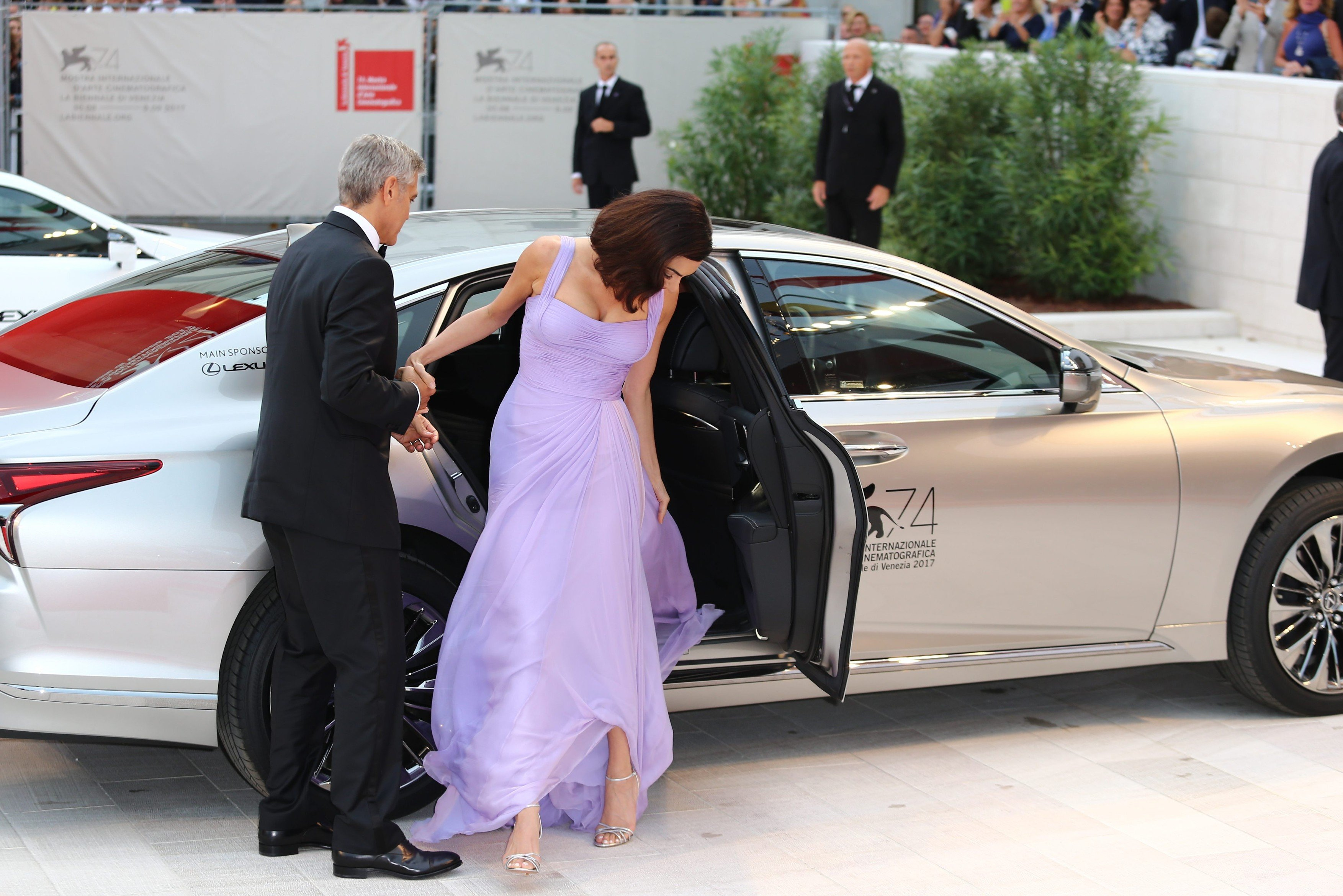 ; Actors Matt Damon with Luciana Barroso and Julianne Moore with US Director George Clooney and his wife Amal Clooney arrive on the Red Carpet for the screening of the 'Suburbicon' photocall during the 74th Venice Film Festival on September 2, 2017 in Venice, Italy Pictured: George Clooney, Amal Clooney, Image: 348123229, License: Rights-managed, Restrictions: , Model Release: no, Credit line: Profimedia, MAXPPP