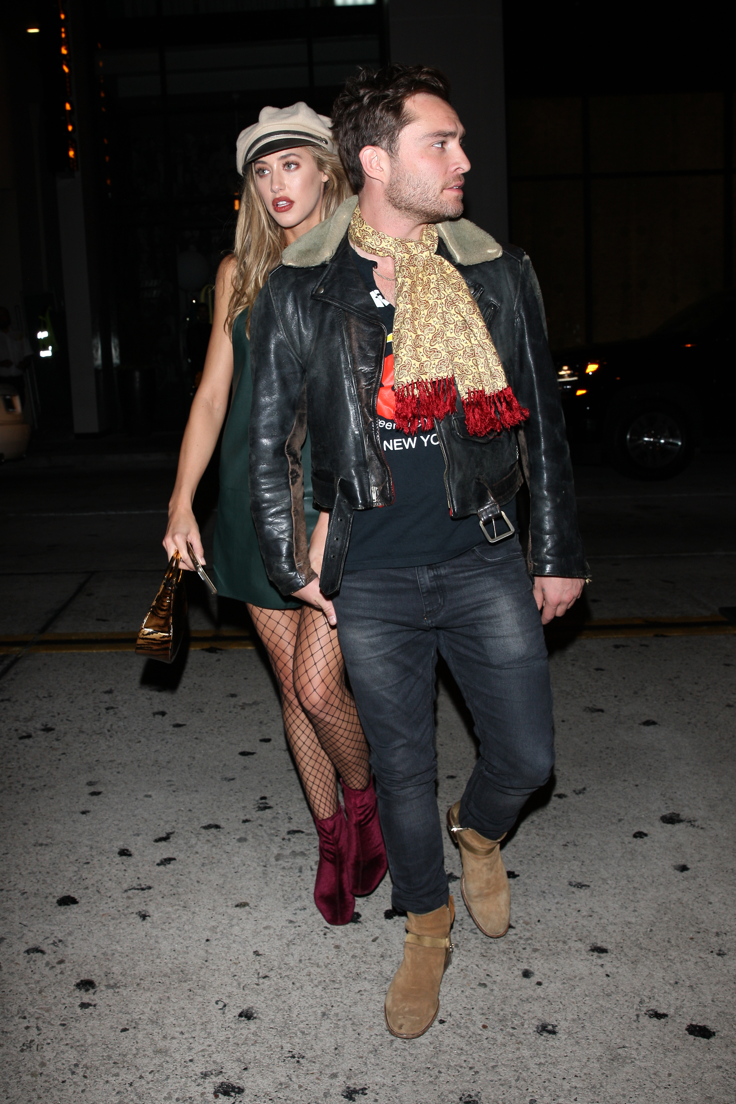 A fashionable Ed Westwick and his girlfriend hold hands as they leave Catch restaurant after having a romantic dinner in West Hollywood <P> Pictured: Ed Westwick <B>Ref: SPL1582961  190917  </B><BR/> Picture by: Photographer Group / Splash News<BR/> </P><P> <B>Splash News and Pictures</B><BR/> Los Angeles:310-821-2666<BR/> New York:212-619-2666<BR/> London:870-934-2666<BR/> <span id=