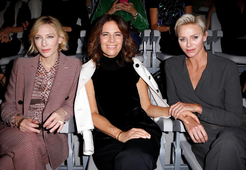 Roberta Armani (C), actress Cate Blanchett (L) and Princess Charlene of Monaco pose before the Giorgio Armani Spring/Summer 2018 show at the Milan Fashion Week in Milan, Italy, September 22, 2017.  REUTERS/Alessandro Garofalo