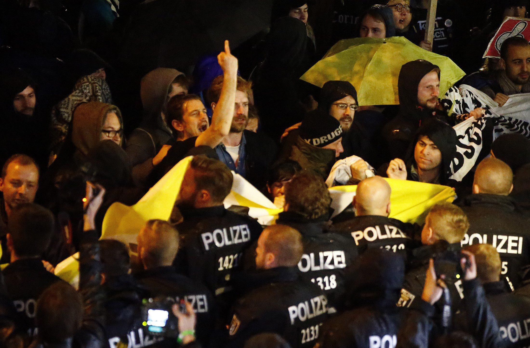 Prosvjedi u Berlinu protiv ulaska desno populističke stranke Alternativa za Njemačku (AfD) u Bundestag 24.9.2017.