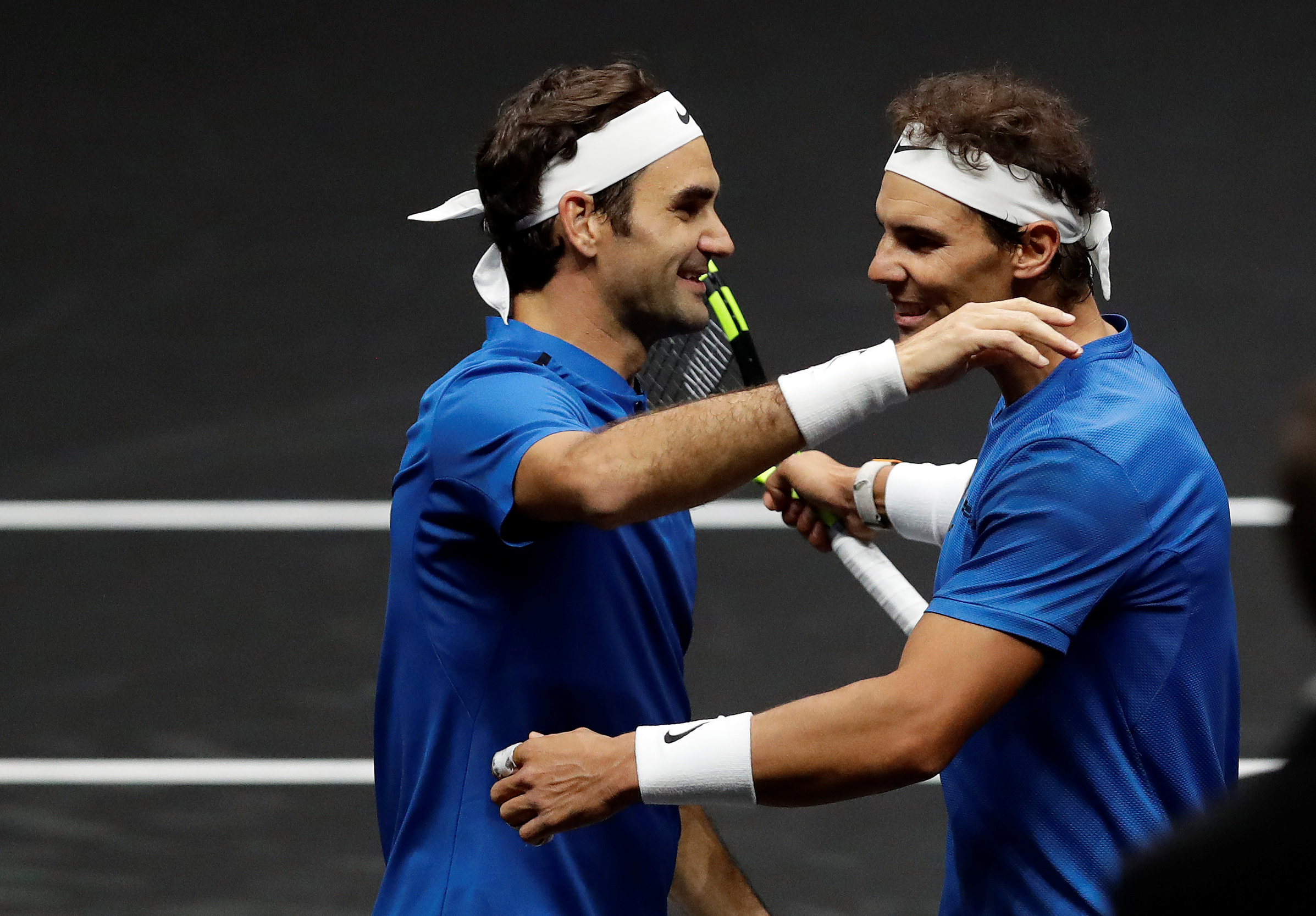 Tennis - Laver Cup - 2nd Day - Prague, Czech Republic - September 23, 2017 - Rafael Nadal and Roger Federer of team Europe celebrate after winning the match. REUTERS/David W Cerny