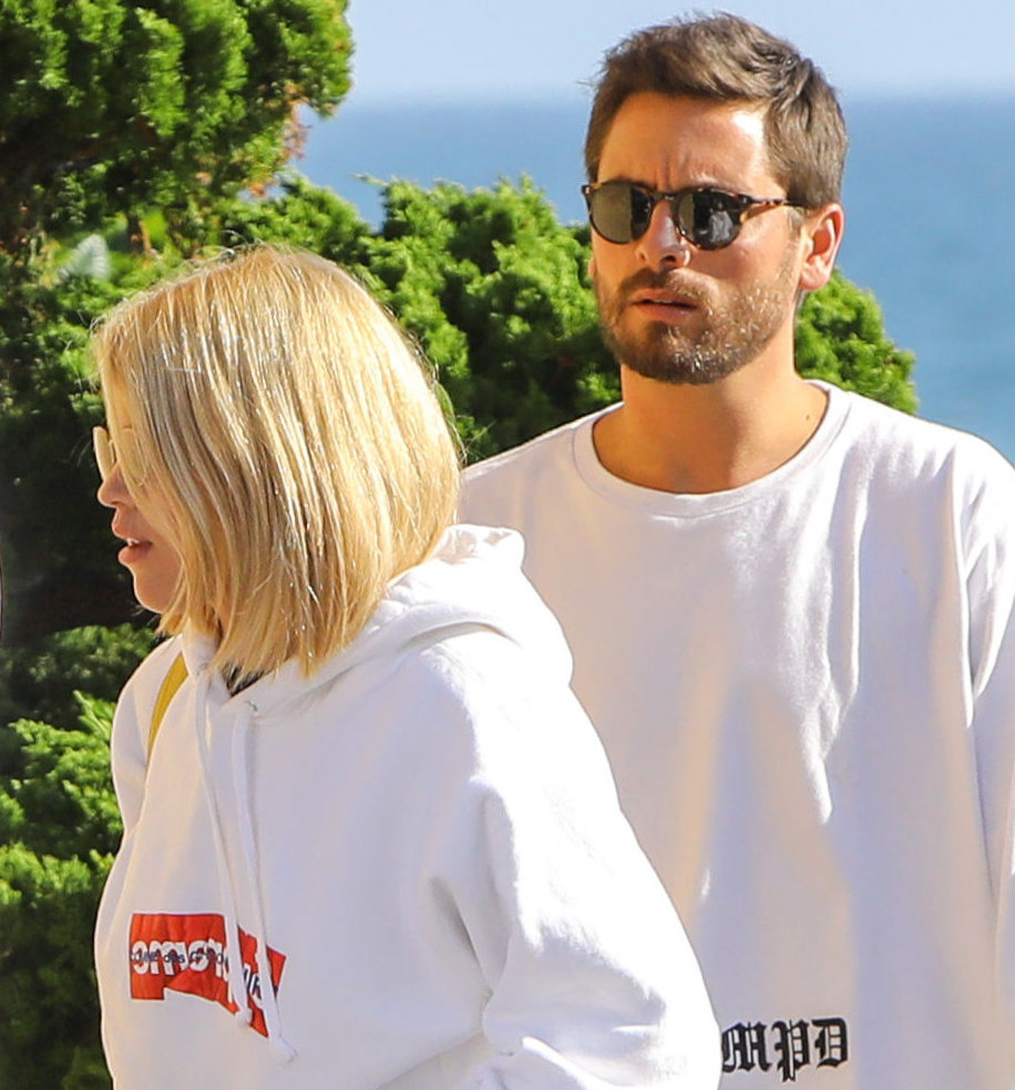 PREMIUM EXCLUSIVE Please contact X17 before any use of these exclusive photos - x17@x17agency.com   Sofia Richie and Scott Disick ate at Nobu after a trip to Barney's in Beverly Hills.  The rising star wore white hoodie over jeans, while Scott went casual in a white shirt and rippled black jeans, on Friday, September 15, 2017  X17online.com