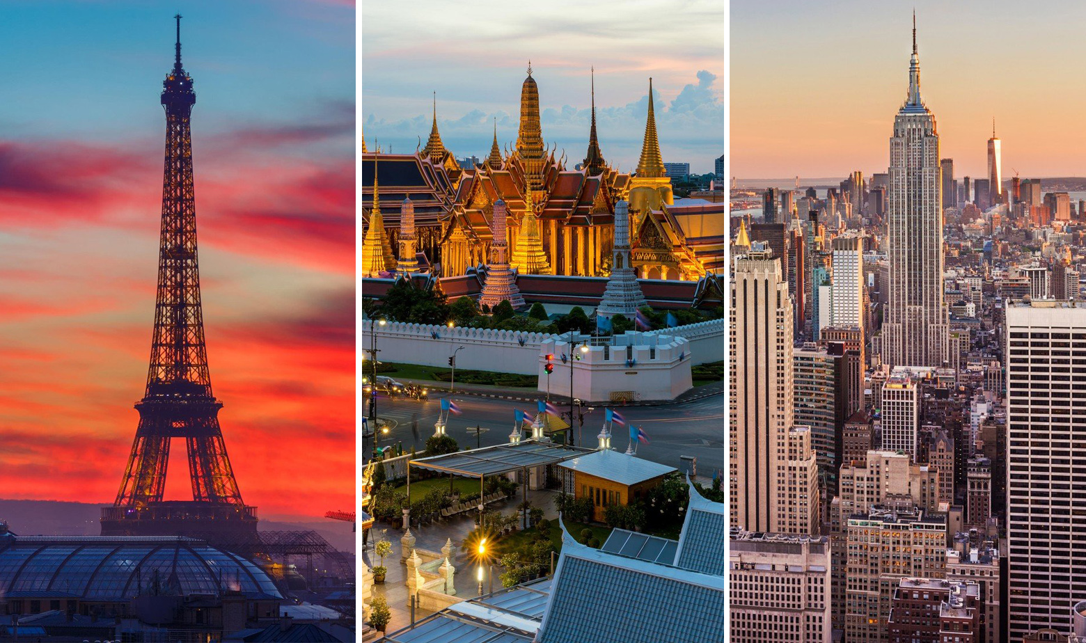Pariz, Bangkok, New York