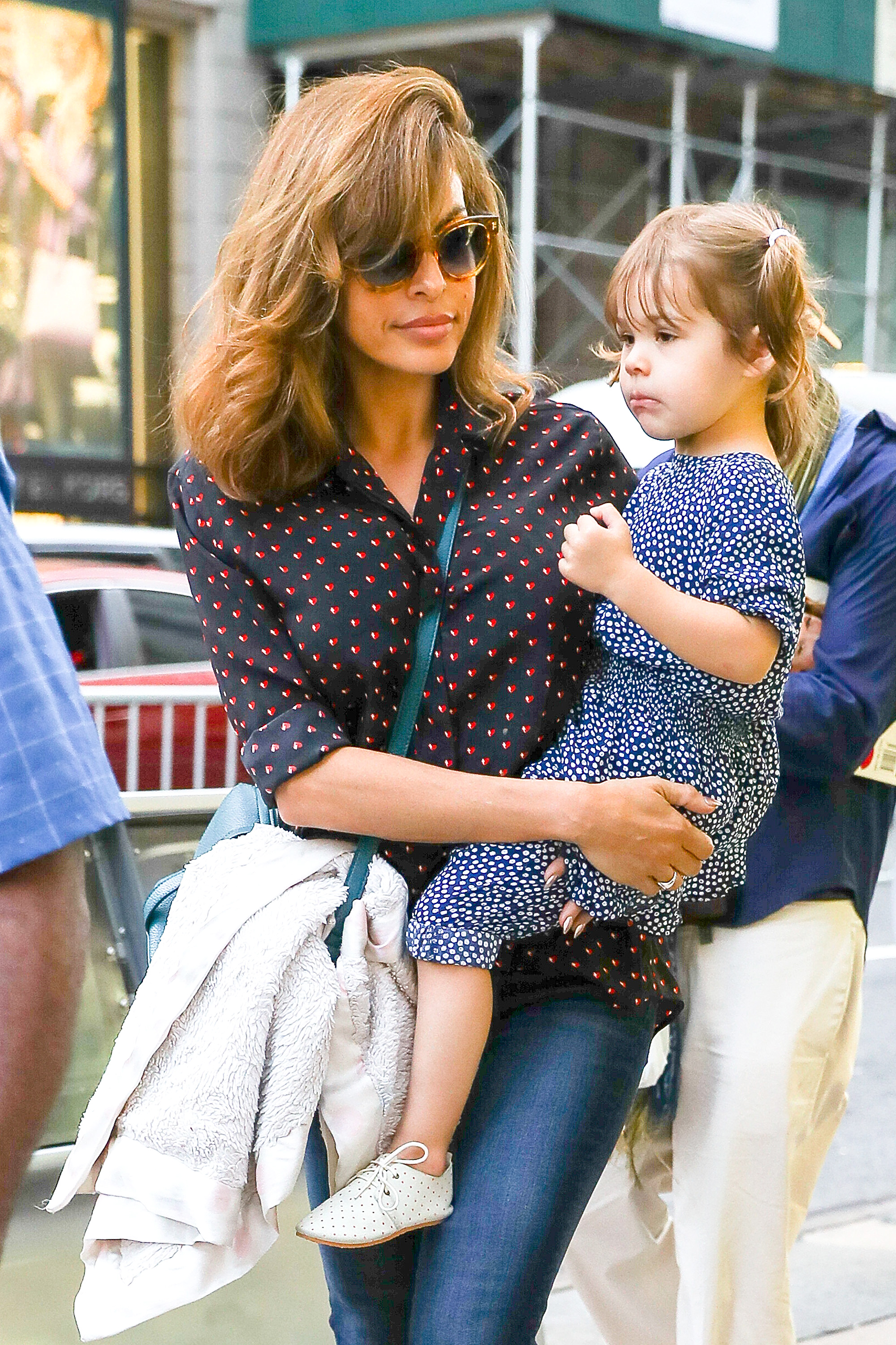 Eva Mendes was spotted carrying her daughter Esmeralda while shopping on Madison avenue in New York City, New York, USA. <P> Pictured: Eva Mendes, Esmeralda Amada Gosling <B>Ref: SPL1589887  260917  </B><BR/> Picture by: Felipe Ramales / Splash News<BR/> </P><P> <B>Splash News and Pictures</B><BR/> Los Angeles:310-821-2666<BR/> New York:212-619-2666<BR/> London:870-934-2666<BR/> <span id=
