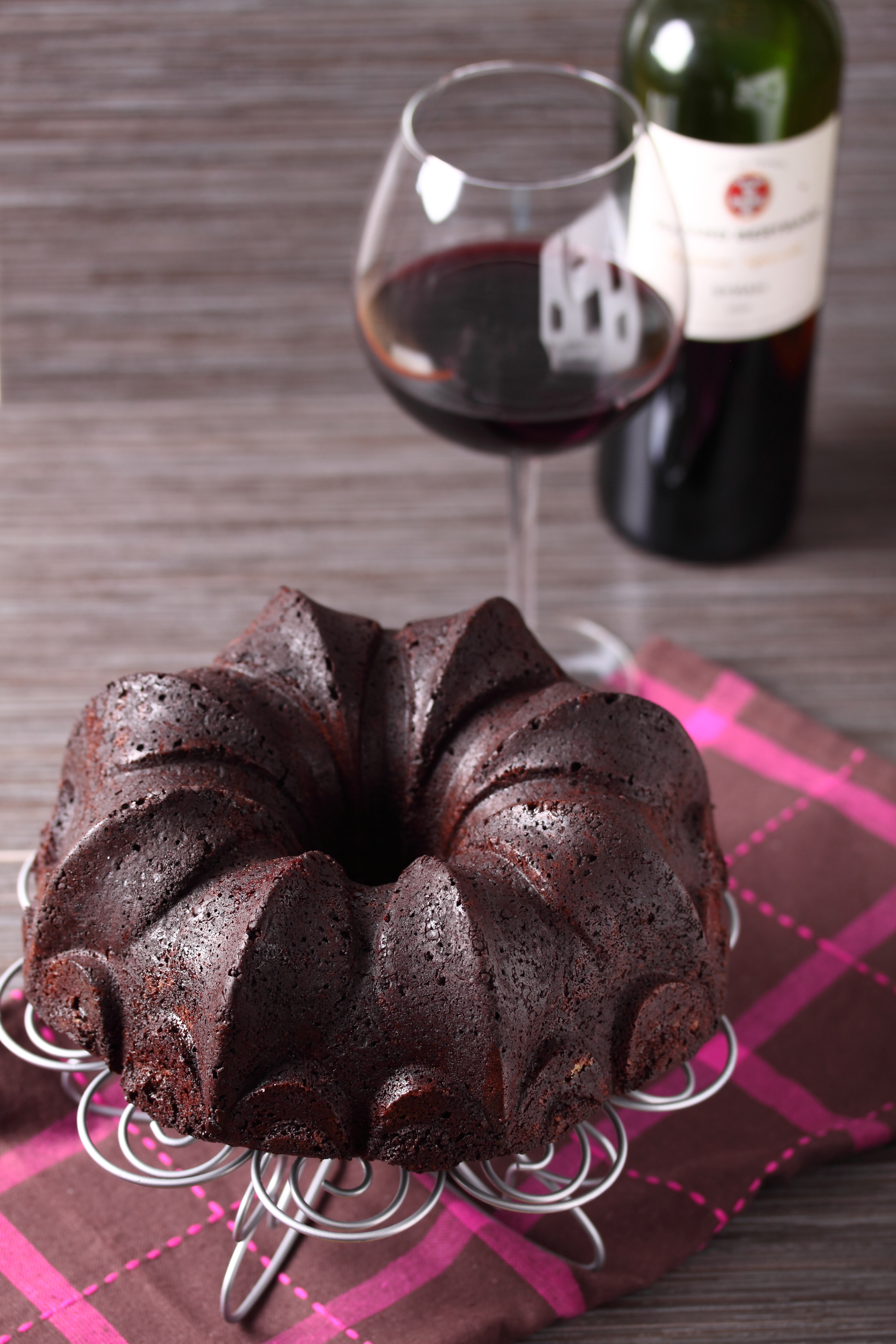 Delicious chocolate cake made with red wine