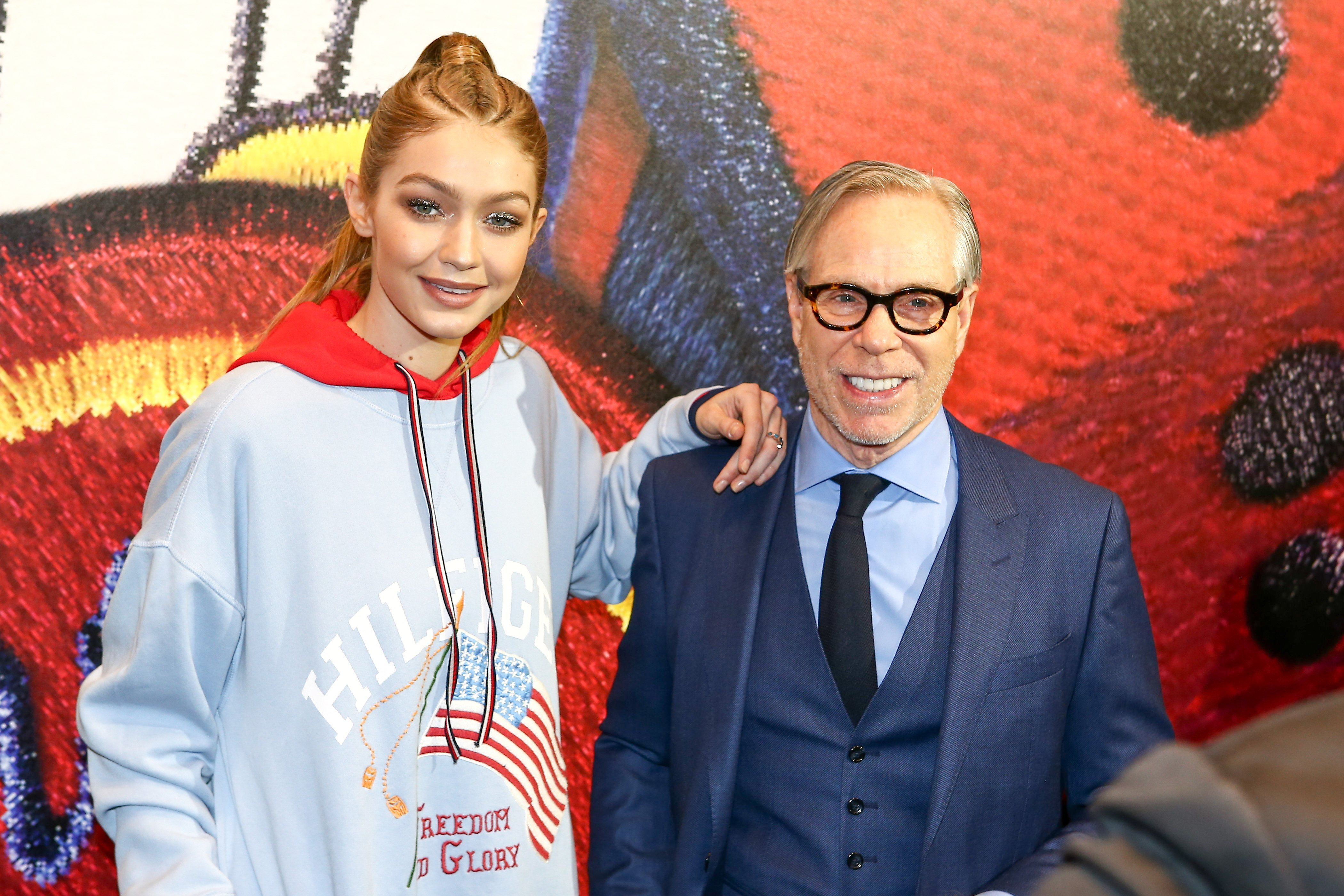 Model Gigi Hadid and designer Tommy Hilfiger attend the Capsule Collection 'Tommy X Gigi' Spring 2017 as part of the Paris Fashion Week Womenswear Fall/Winter 2017/2018 on February 28, 2017 in Paris, France, Image: 322783241, License: Rights-managed, Restrictions: Worldwide rights, Model Release: no, Credit line: Profimedia, Crystal pictures