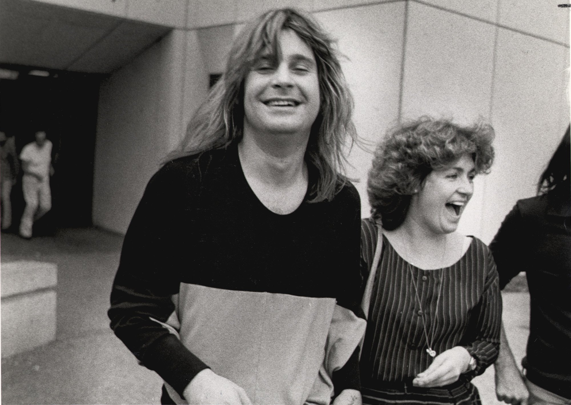 Feb. 19, 1982 - San Antonio, Texas, U.S. - OZZY OSBOURNE and his manager, SHARON ARDEN (now his wife SHARON OSBOURNE), leave the Bexar County Adult Detention Center, after he was arrested for urinating on the Alamo Cenotaph., Image: 125086896, License: Rights-managed, Restrictions: * San Antonio Newspapers Rights OUT *, Model Release: no, Credit line: Profimedia, Zuma Press - Archives