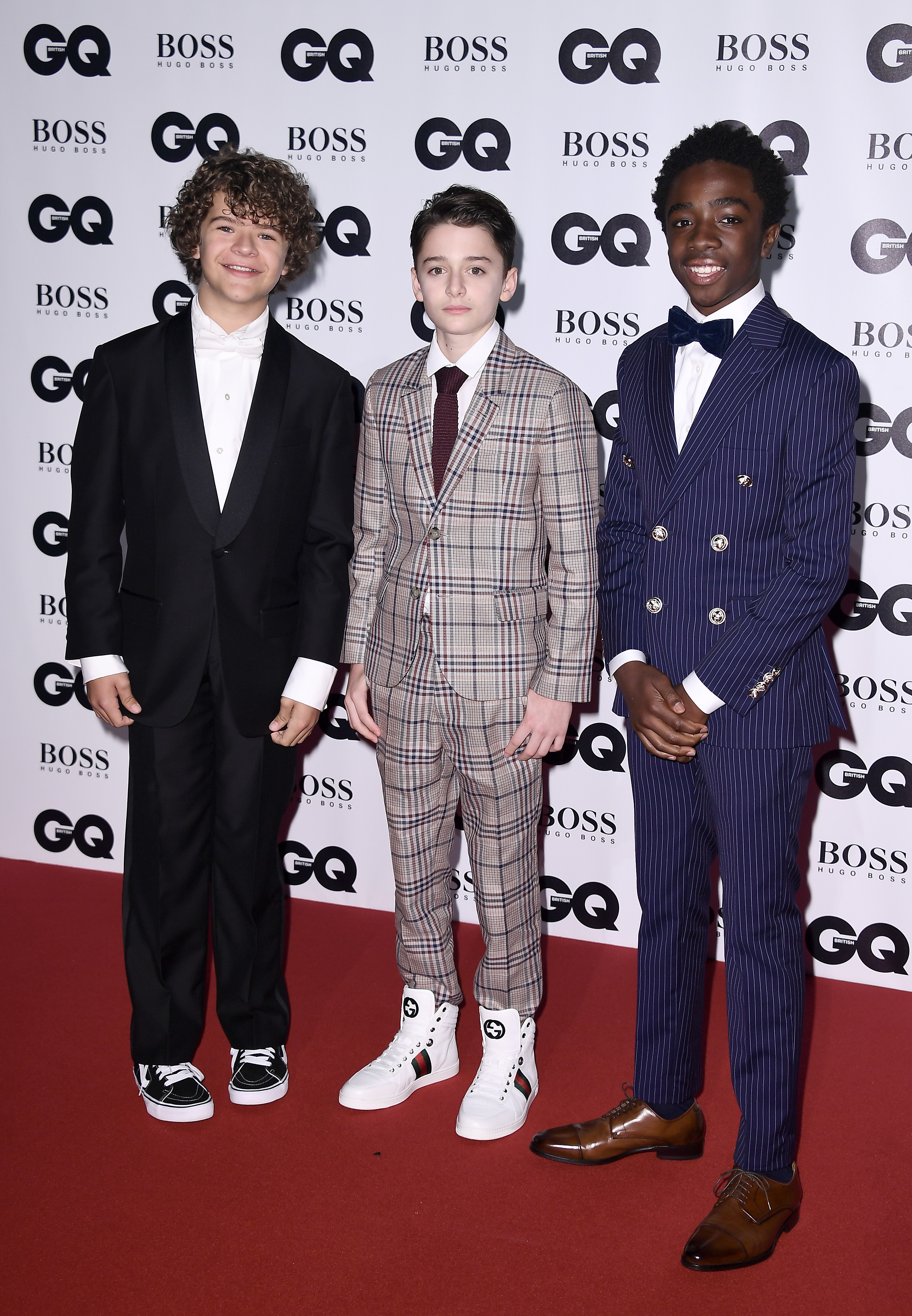 LONDON, ENGLAND - SEPTEMBER 05:  Gaten Matarazzo, Noah Schnapp and Caleb McLaughlin attend the GQ Men Of The Year Awards at the Tate Modern on September 5, 2017 in London, England.  (Photo by Gareth Cattermole/Getty Images)