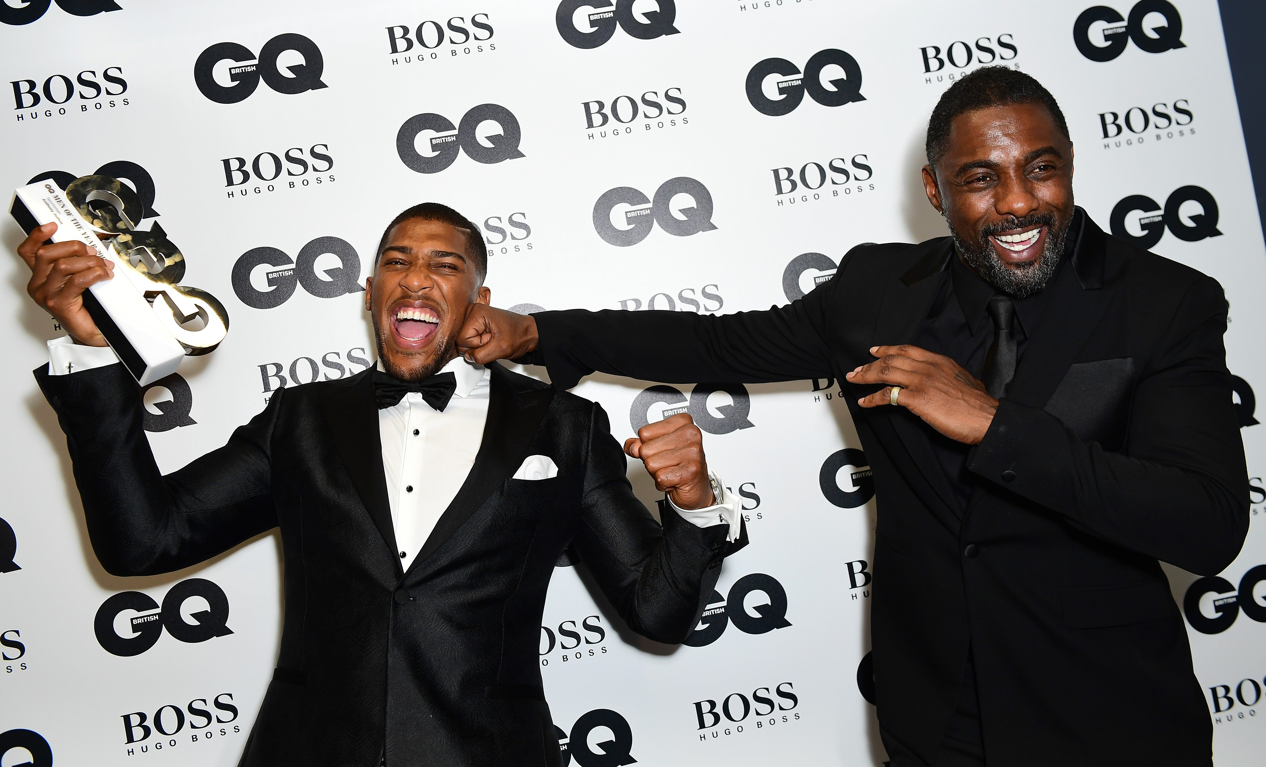 Anthony Joshua (left) with his Best Sportsman award poses with Idris Elba during the GQ Men of the Year Awards 2017 held at the Tate Modern, London., Image: 348437557, License: Rights-managed, Restrictions: , Model Release: no, Credit line: Profimedia, Press Association