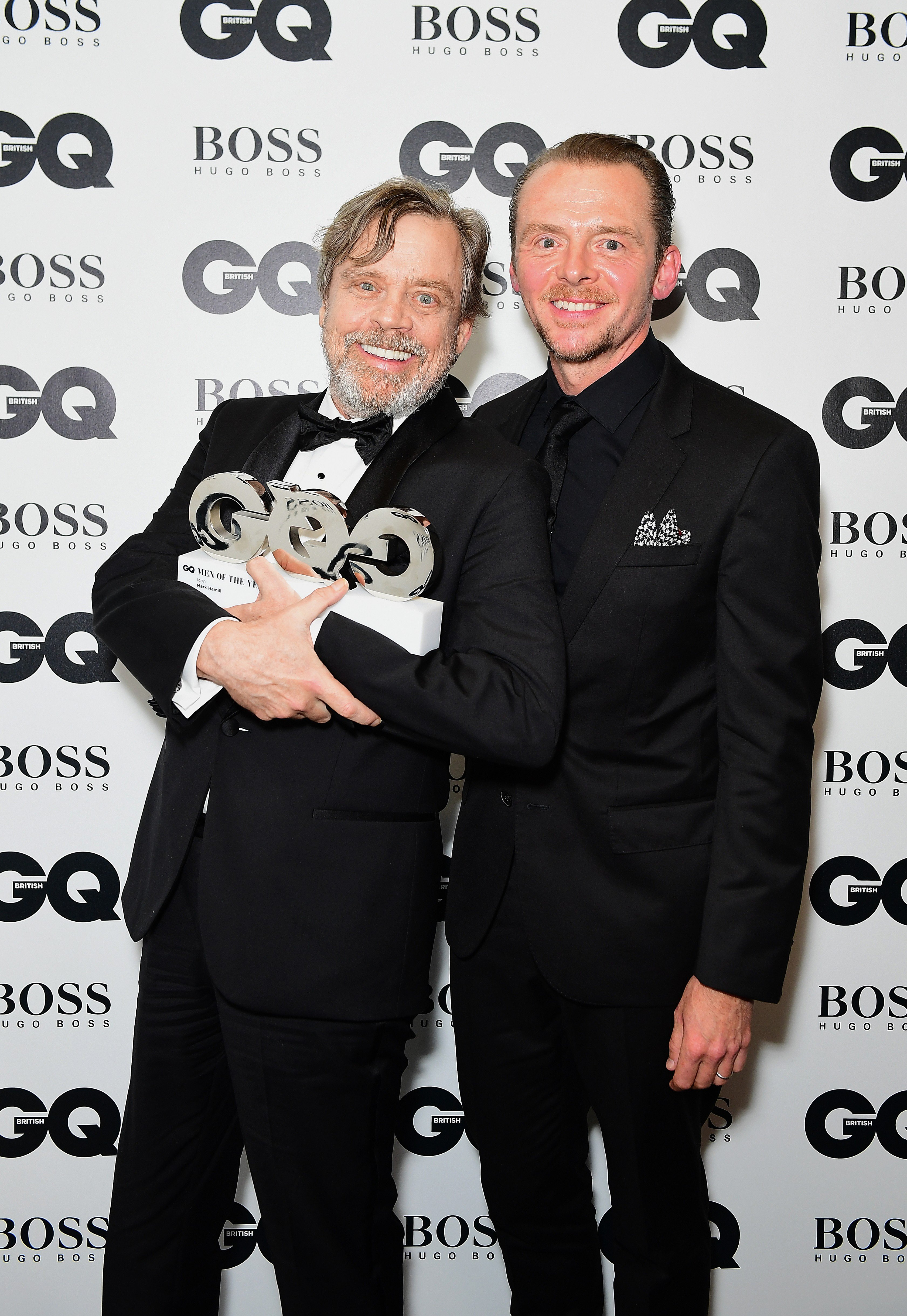Mark Hammill (left) with his Icon award poses with Simon Pegg during the GQ Men of the Year Awards 2017 held at the Tate Modern, London., Image: 348438417, License: Rights-managed, Restrictions: , Model Release: no, Credit line: Profimedia, Press Association