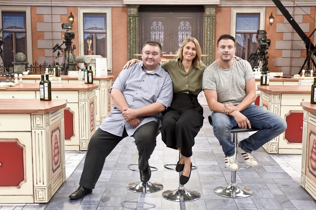 RTL je u studiju 4 Jadran filma najavio novu sezonu kulinarske emisije 'Tri, dva, jedan - kuhaj!' Na fotografiji: Tomislav Špiček, Mateja Domitrović i Mato Janković.