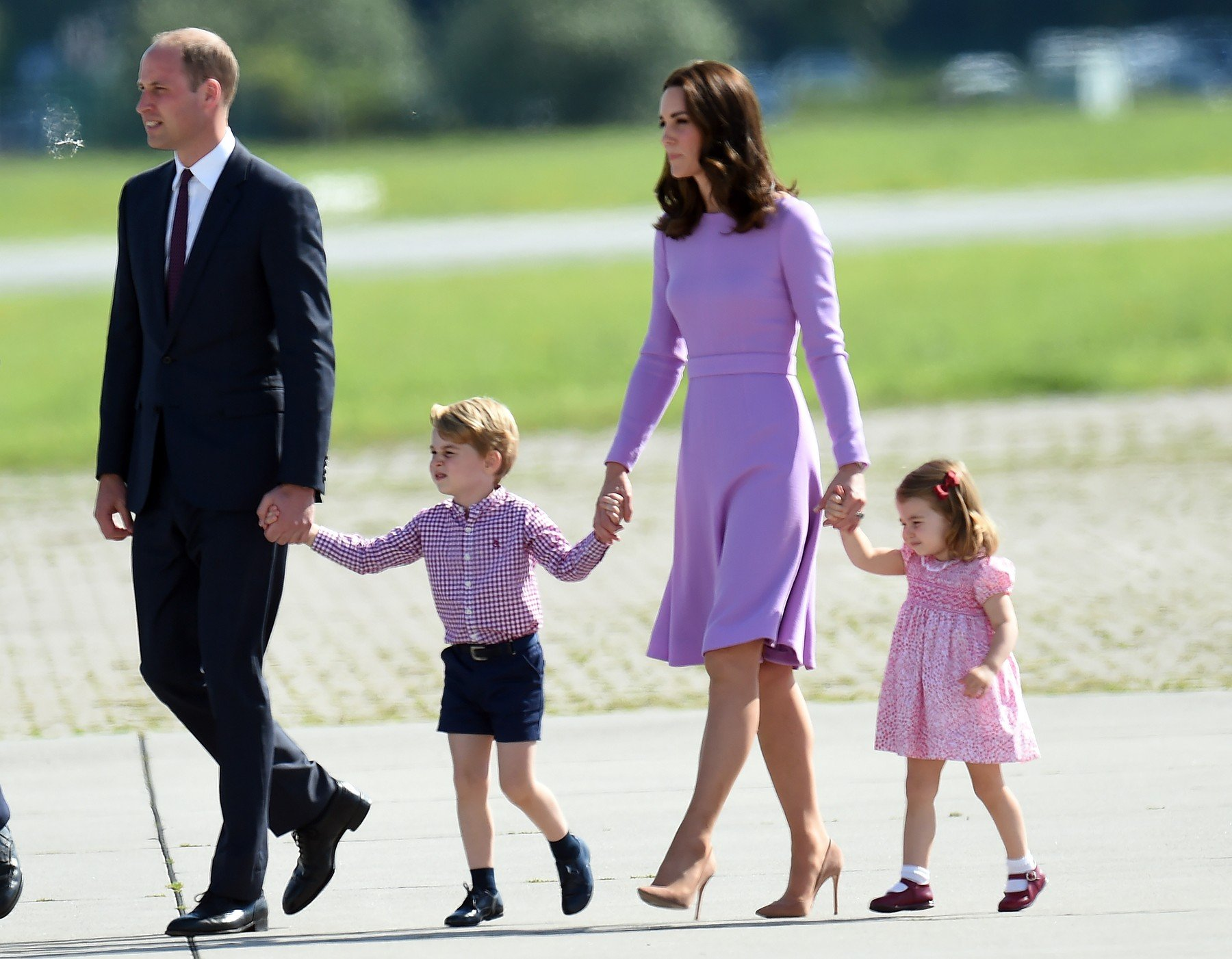 21 July 2017.  Prince William, Duke of Cambridge, Catherine, Duchess of Cambridge visit to Germany.  Here, Prince William and Catherine, accompanied by Prince George and Princess Charlotte, visit Airbus where they toured the training facilities and met with apprentices before viewing the final assembly line of an A320 aircraft. This is their last engagement of the tour before they head home., Image: 342621686, License: Rights-managed, Restrictions: , Model Release: no, Credit line: Profimedia, Goff Photos