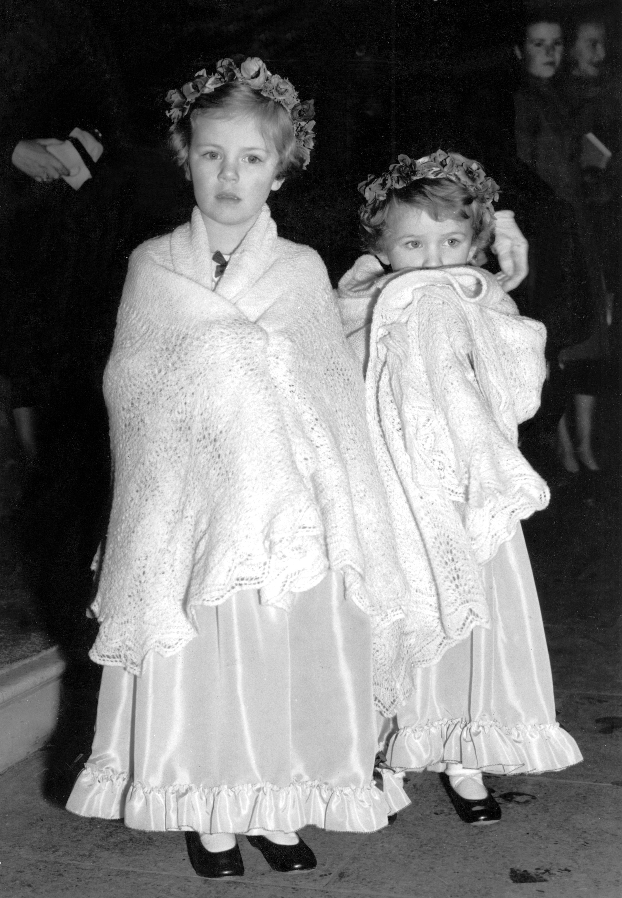 Camilla ( Parker - Bowles ) and Annabel Shand as the bridesmaids of Diana Du Cane and Jeremy Cubitt. January 17th 1952, Image: 22417598, License: Rights-managed, Restrictions: UK USE ONLY. Reproduction fee payable on use. For queries contact Photoshot on + 44 (0)7421 6000, Model Release: no, Credit line: Profimedia, Uppa royals