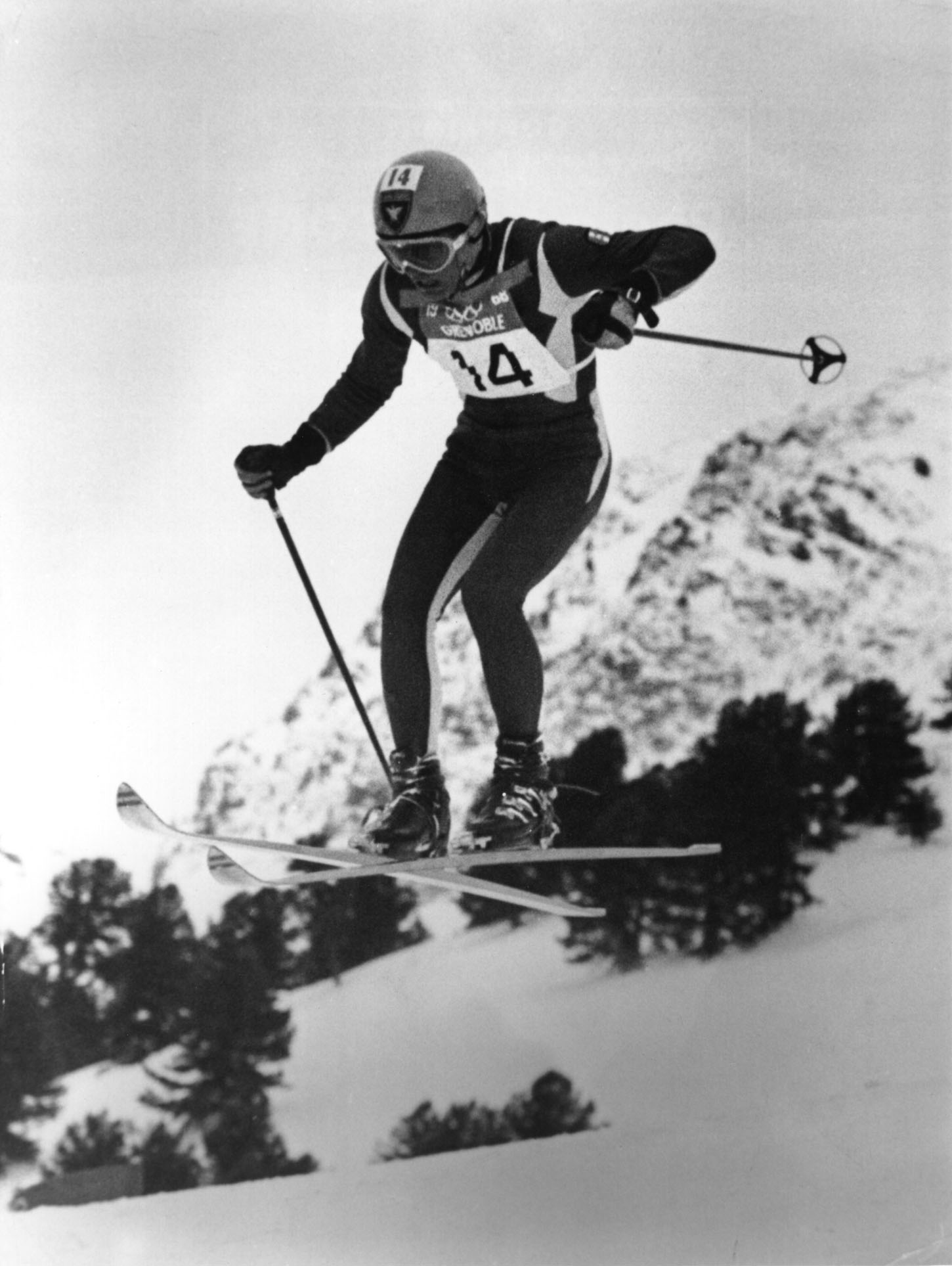 9 FEB 1968:  JEAN-CLAUDE KILLY IN ACTION DURING THE DOWNHILL SKIING AVENT AT THE WINTER OLYMPICS IN GRENOBLE.  KILLY RETAINED THE GOLD MEDAL WITH A TIME OF 1 MINUTE 59.85 SECONDS. Mandatory Credit: Allsport Hulton/Archive