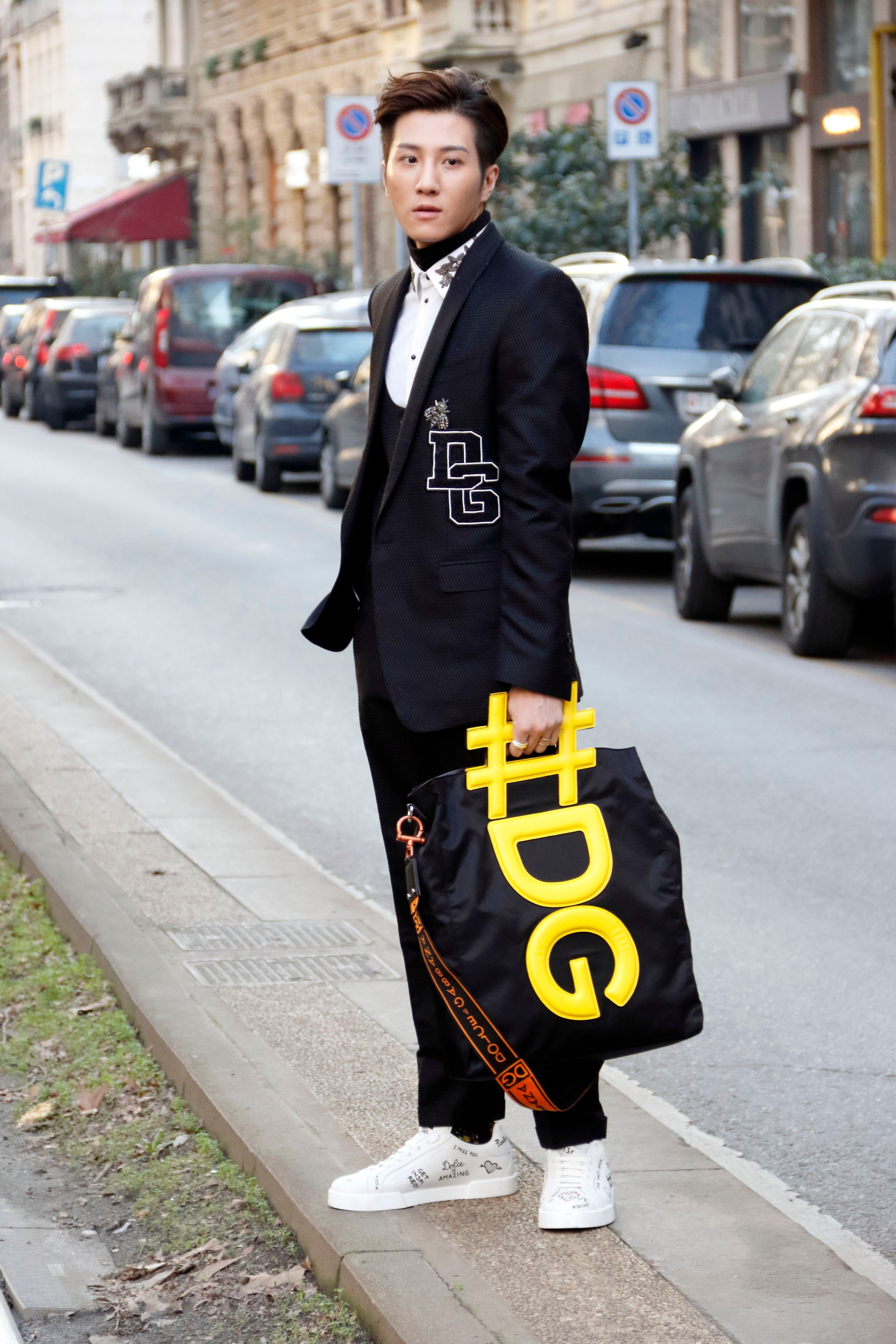 Guest arriving at Dolce e Gabbana fashion show in Milan, Italy, January 13, 2018., Image: 360101239, License: Rights-managed, Restrictions: , Model Release: no, Credit line: Profimedia, Abaca