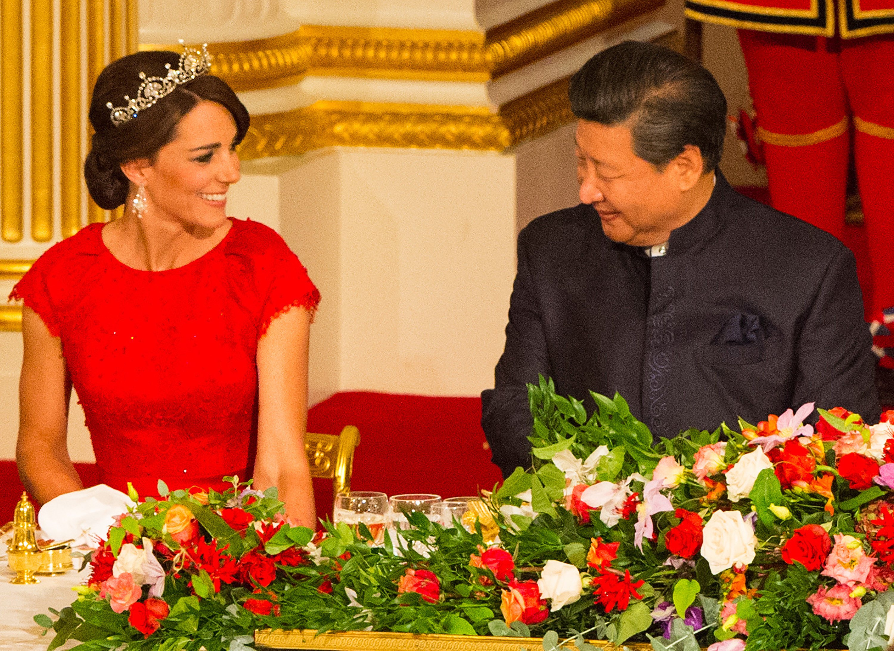 The State Banquet for the Chinese President, Xi Jinping, held on the first day of his State Visit to the UK, at Buckingham Palace, London, UK, on the 20th October 2015.  Picture by Dominic Lipinski/WPA-Pool <P> Pictured: Duchess of Cambridge, Catherine, Kate Middleton, Xi Jinping <B>Ref: SPL1156329  201015  </B><BR/> Picture by: Splash News<BR/> </P><P> <B>Splash News and Pictures</B><BR/> Los Angeles:310-821-2666<BR/> New York:212-619-2666<BR/> London:870-934-2666<BR/> <span id=