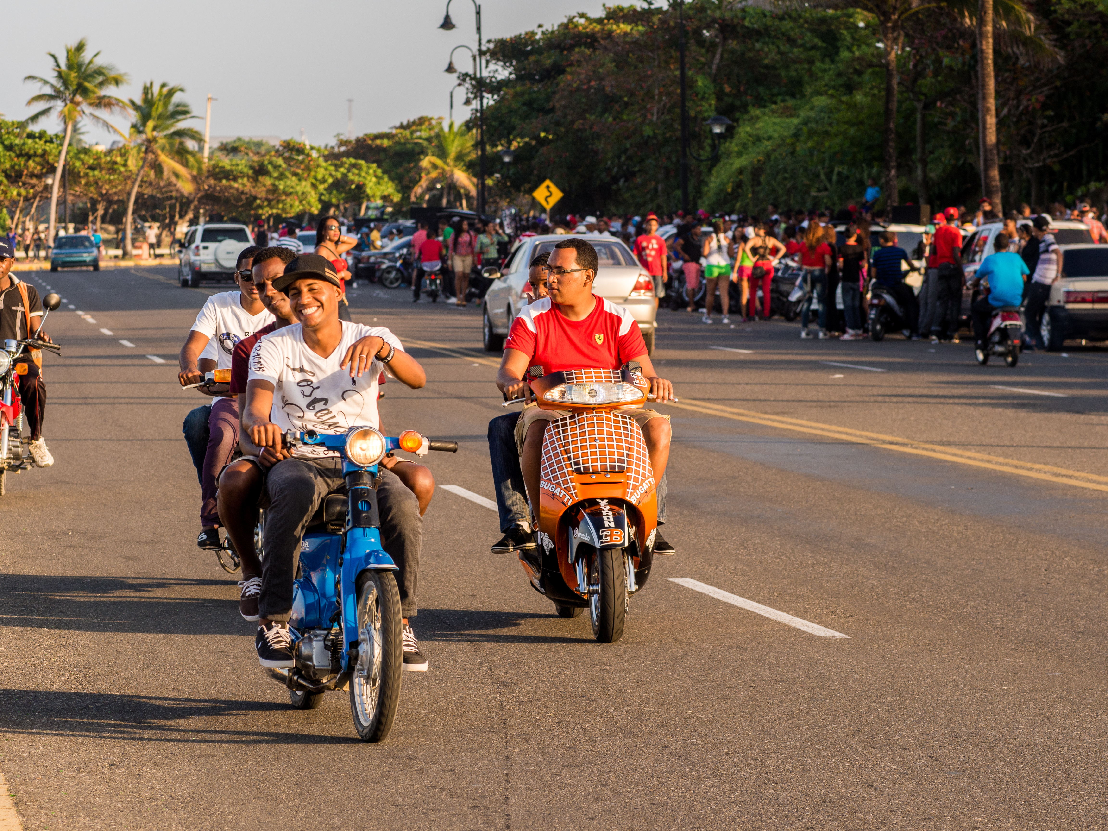 Puerto Plata, Dominican Republic - February 27, 2013: People riding their motorbikes on the streets celebrating Independence Day in Puerto Plata, Dominican Republic.