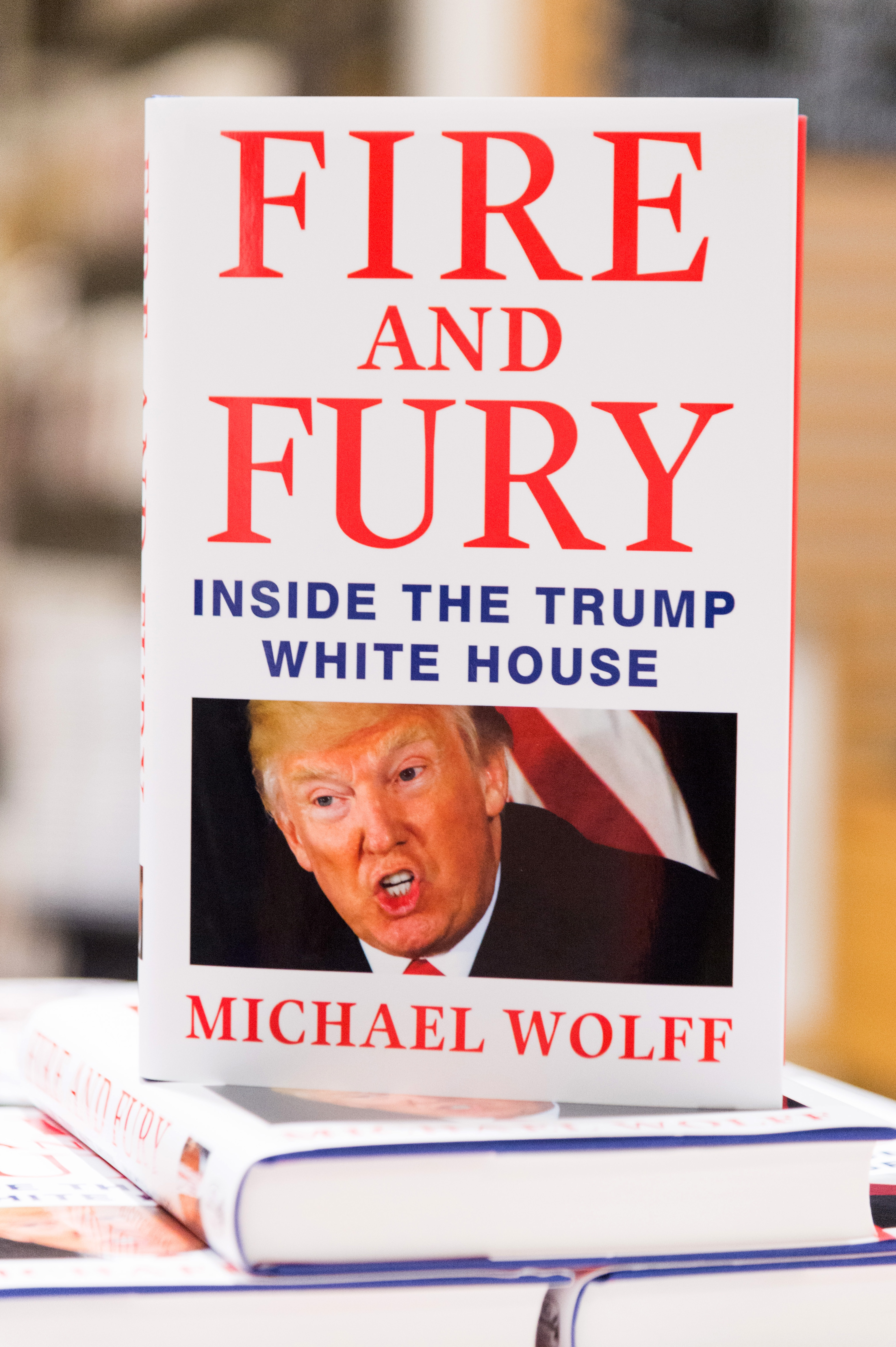 January 9, 2018 - London, London, UK - The book Launch of Fire And Fury: Inside Trump's Presidency goes on sale at Waterstone's book store in Piccadilly. Only 500 copies will be on sale today. The author Michael Wolff, writes and explosive account of the first year of newly elected president Donald Trump (Credit Image: � Ray Tang via ZUMA Press) <P> Pictured: General View <B>Ref: SPL1644123  090118  </B><BR/> Picture by: Zuma / Splash News<BR/> </P><P> <B>Splash News and Pictures</B><BR/> Los Angeles:	310-821-2666<BR/> New York:	212-619-2666<BR/> London:	870-934-2666<BR/> <span id=