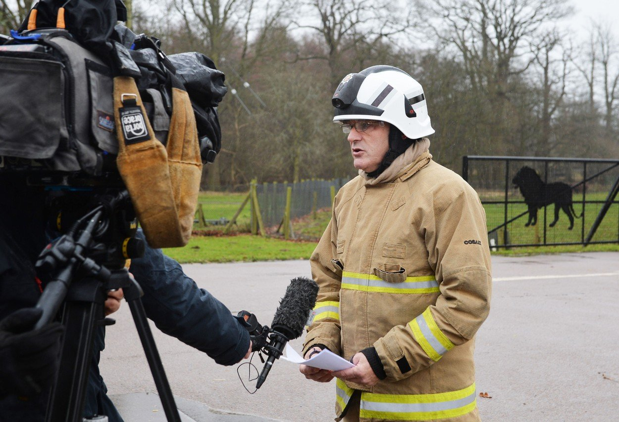 Fire Station Commander at Kempston Paul Goddard speaks to the media outside Woburn Safari Park in Bedfordshire where 13 Patas monkeys have died in a fire, Image: 359045350, License: Rights-managed, Restrictions: , Model Release: no, Credit line: Profimedia, Press Association