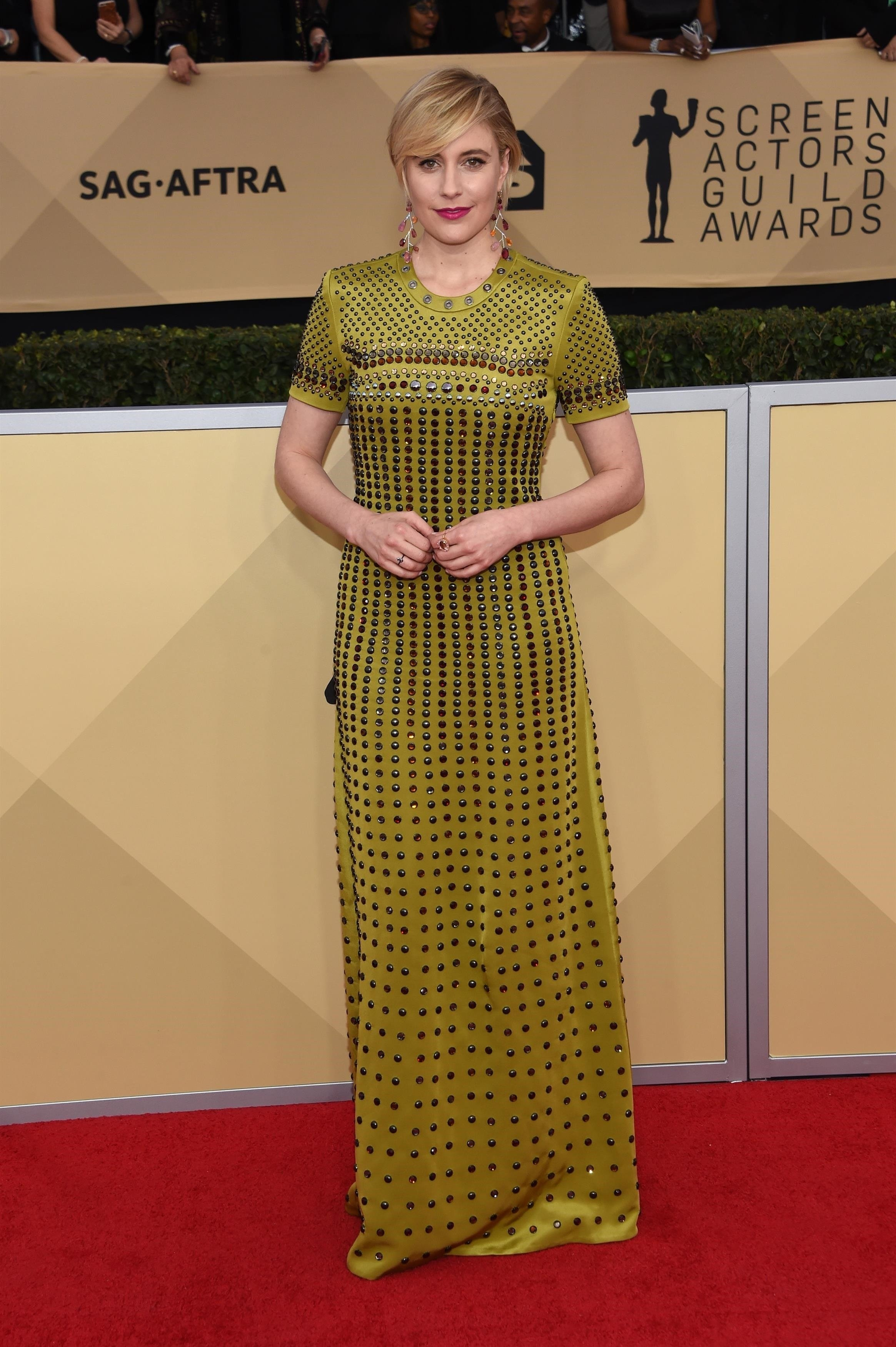 ** RIGHTS: WORLDWIDE EXCEPT IN FRANCE ** Los Angeles, CA  - Celebrities attend the 24th annual Screen Actors Guild Awards held at The Shrine Auditorium in Los Angeles, CA.  Pictured: Greta Gerwig    *UK Clients - Pictures Containing Children Please Pixelate Face Prior To Publication*, Image: 360908950, License: Rights-managed, Restrictions: , Model Release: no, Credit line: Profimedia, AKM-GSI