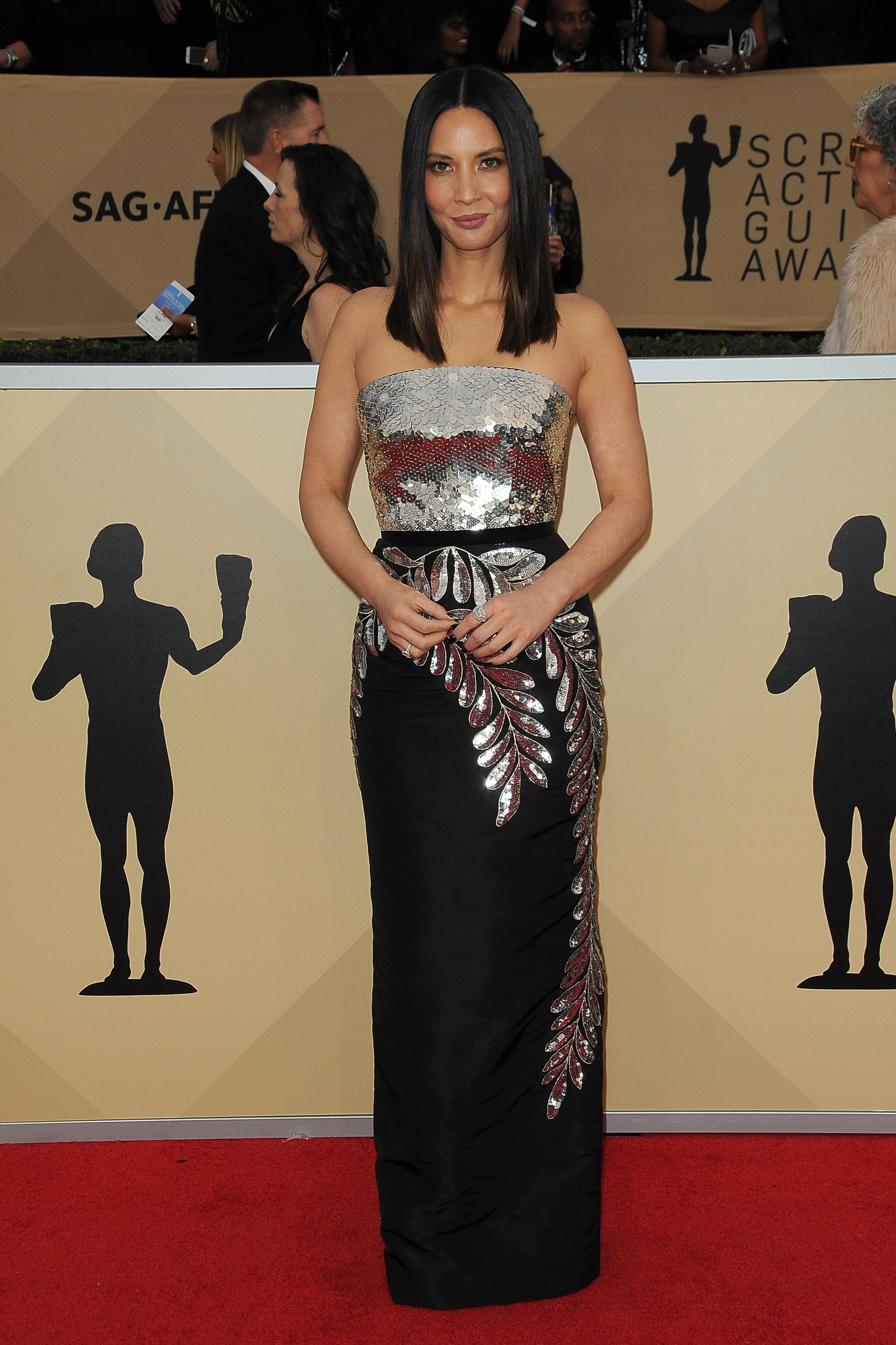 Arrivals for the 24th Annual Screen Actors Guild Awards, held at the Shrine Exposition Center in Los Angeles, California <P> Pictured: Olivia Munn <B>Ref: SPL1649120  210118  </B><BR/> Picture by: Splash News<BR/> </P><P> <B>Splash News and Pictures</B><BR/> Los Angeles:	310-821-2666<BR/> New York:	212-619-2666<BR/> London:	870-934-2666<BR/> <span id=