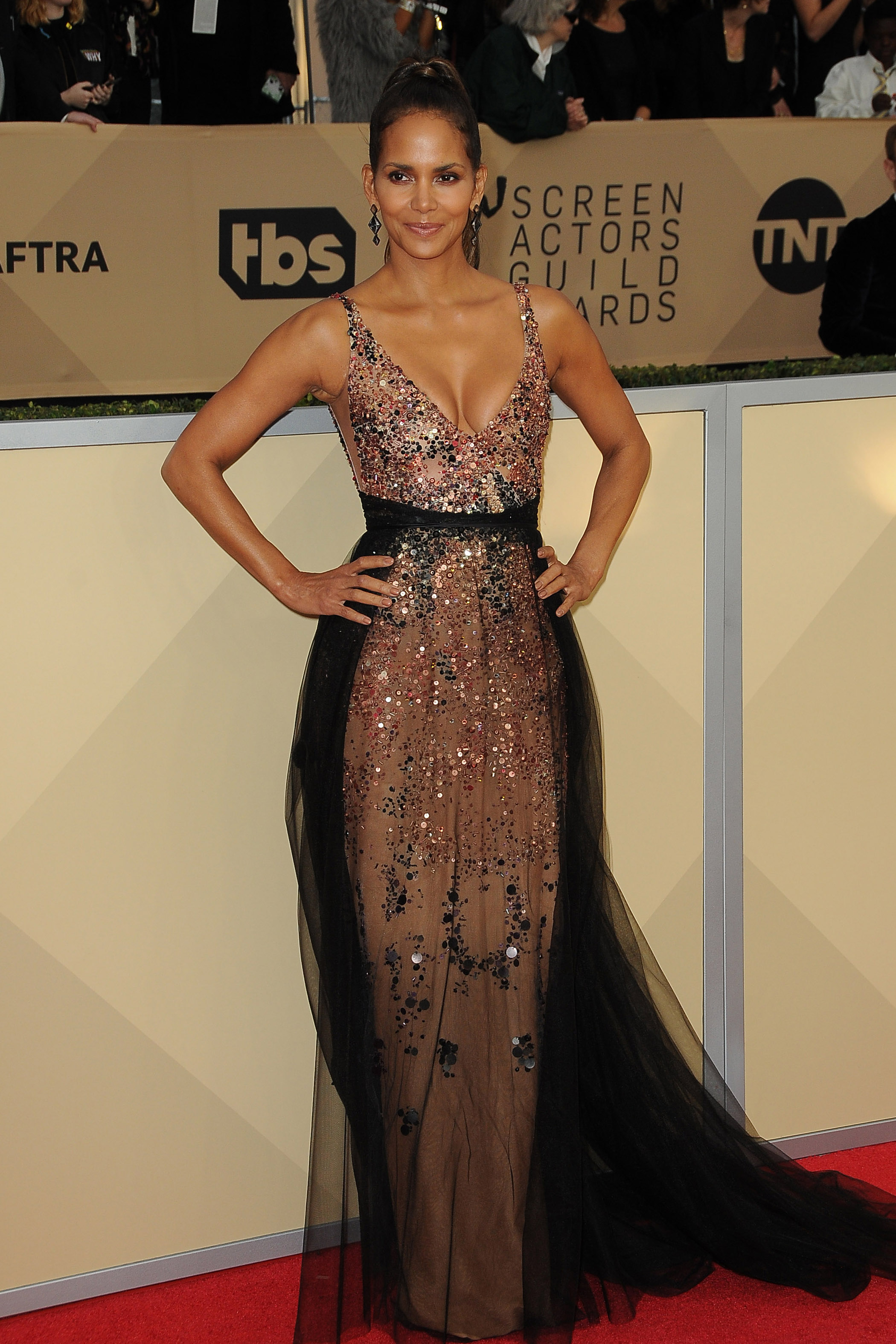 Arrivals for the 24th Annual Screen Actors Guild Awards, held at the Shrine Exposition Center in Los Angeles, California <P> Pictured: Halle Berry <B>Ref: SPL1649120  210118  </B><BR/> Picture by: Splash News<BR/> </P><P> <B>Splash News and Pictures</B><BR/> Los Angeles:	310-821-2666<BR/> New York:	212-619-2666<BR/> London:	870-934-2666<BR/> <span id=
