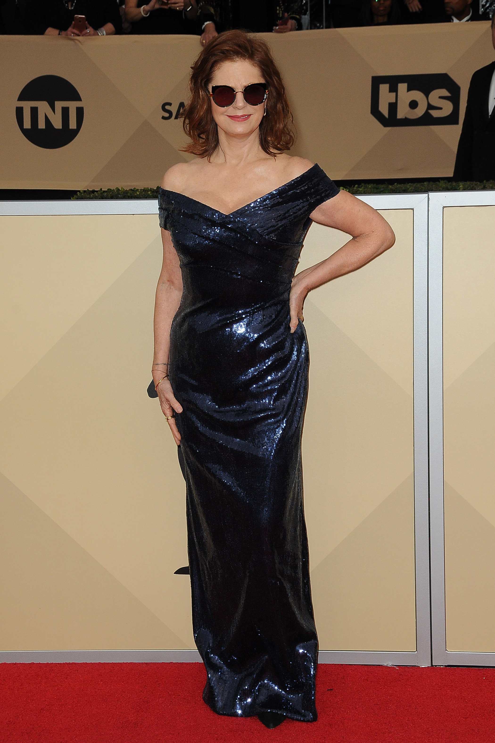 Arrivals for the 24th Annual Screen Actors Guild Awards, held at the Shrine Exposition Center in Los Angeles, California <P> Pictured: Susan Sarandon <B>Ref: SPL1649120  210118  </B><BR/> Picture by: Splash News<BR/> </P><P> <B>Splash News and Pictures</B><BR/> Los Angeles:	310-821-2666<BR/> New York:	212-619-2666<BR/> London:	870-934-2666<BR/> <span id=