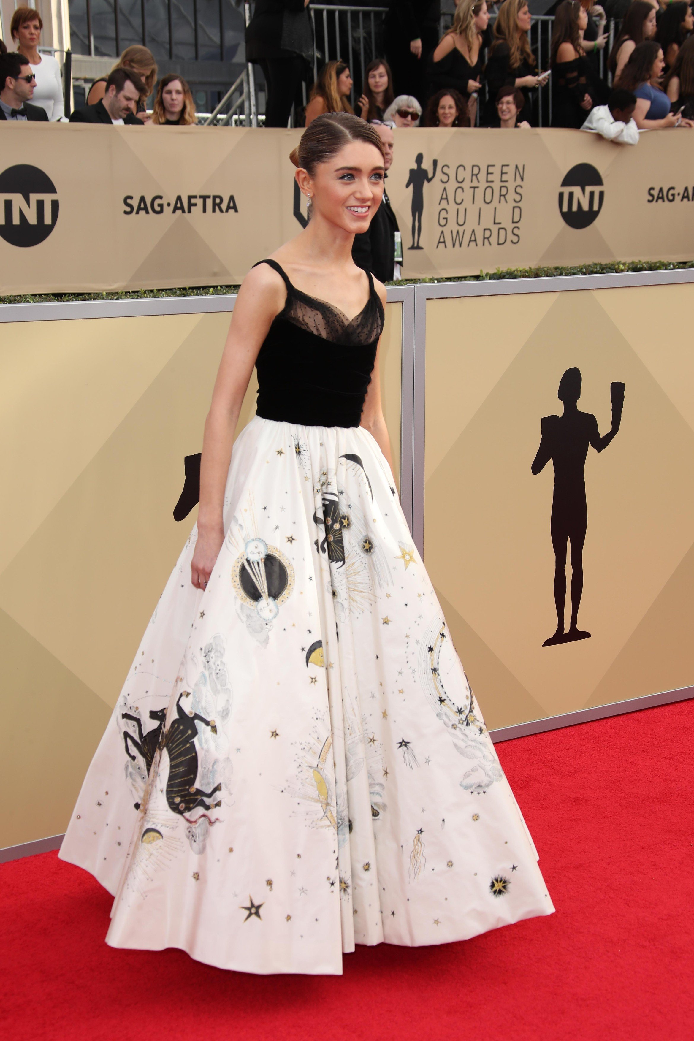 Jan 21, 2018; Los Angeles, CA, USA; Natalia Dyer arrives at the 24th annual Screen Actors Guild Awards at the Shrine Auditorium., Image: 360889986, License: Rights-managed, Restrictions: *** World Rights *** No Tabloids ***, Model Release: no, Credit line: Profimedia, SIPA USA