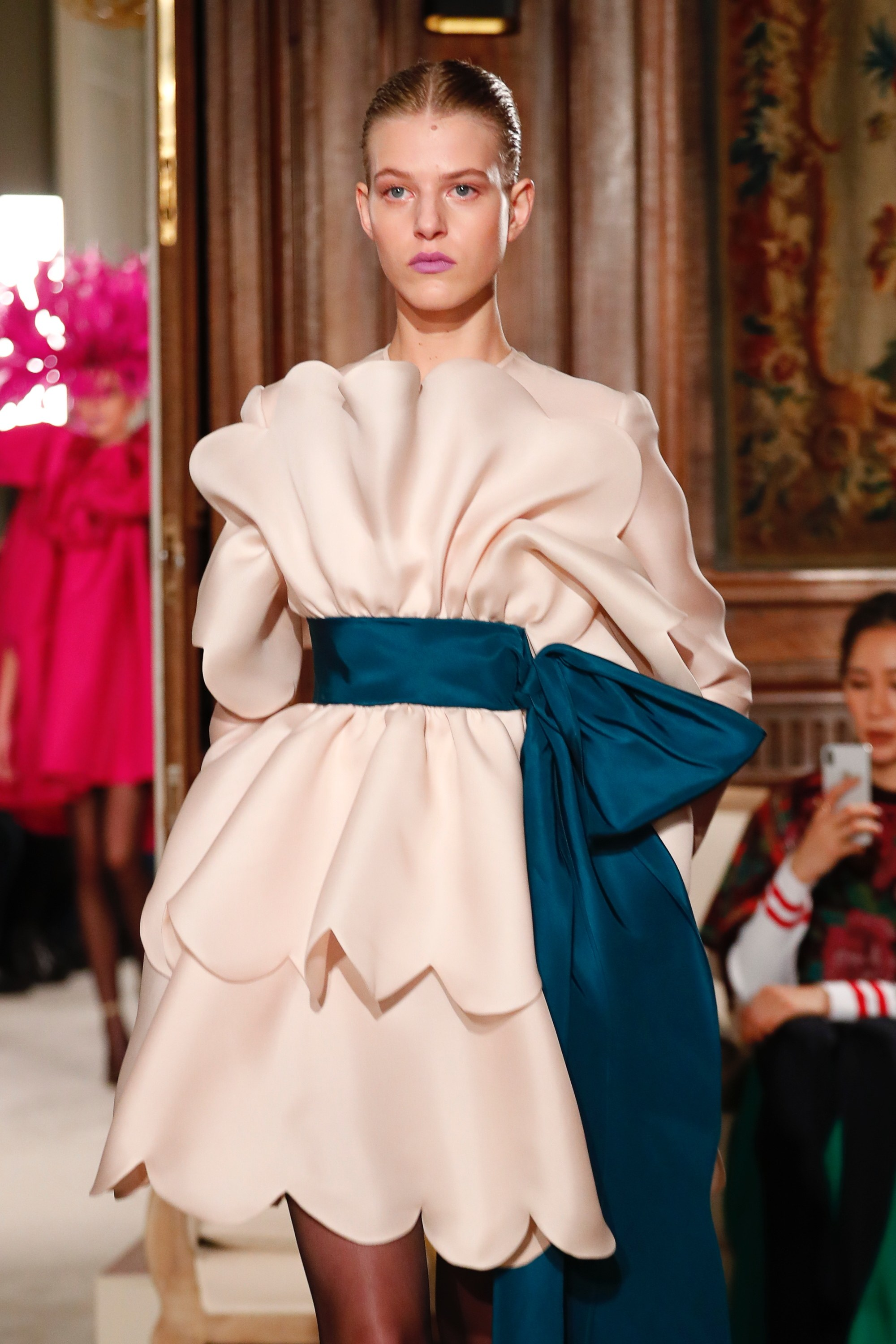 PARIS- Model, walks the runway at the Schiaparelli Show during Paris Fashion Week- Haute Couture Spring /Summer  2018   <P> Pictured: Models Valentino <B>Ref: SPL1650262  240118  </B><BR/> Picture by: NPictures / Splash News<BR/> </P><P> <B>Splash News and Pictures</B><BR/> Los Angeles:310-821-2666<BR/> New York:212-619-2666<BR/> London:870-934-2666<BR/> <span id=