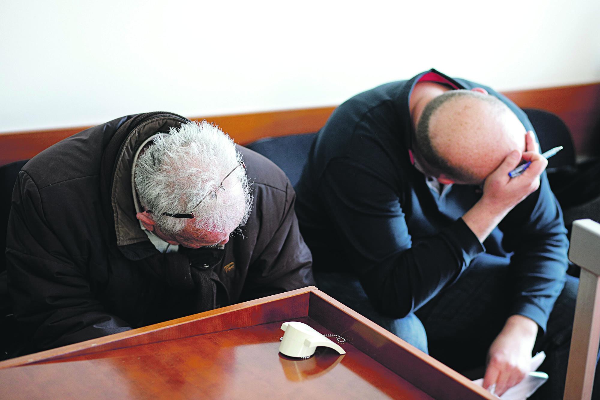 Na fotografiji: Branislav Brozicevic i Antun Milat na Opcinskom kaznenom sudu, 23.1.2018.