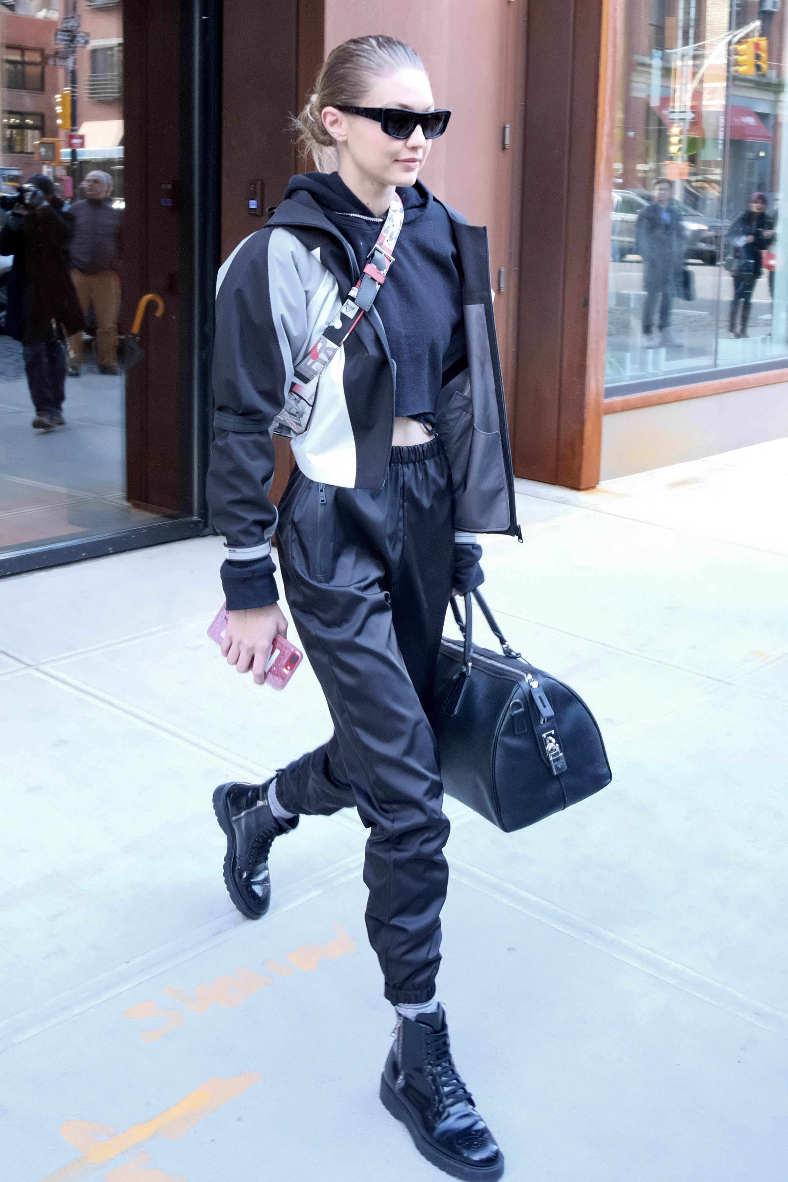 Gigi Hadid leaves her East Village apartment in New York City. <P> Pictured: Gigi Hadid <B>Ref: SPL1650412  240118  </B><BR/> Picture by: Splash News<BR/> </P><P> <B>Splash News and Pictures</B><BR/> Los Angeles:310-821-2666<BR/> New York:212-619-2666<BR/> London:870-934-2666<BR/> <span id=